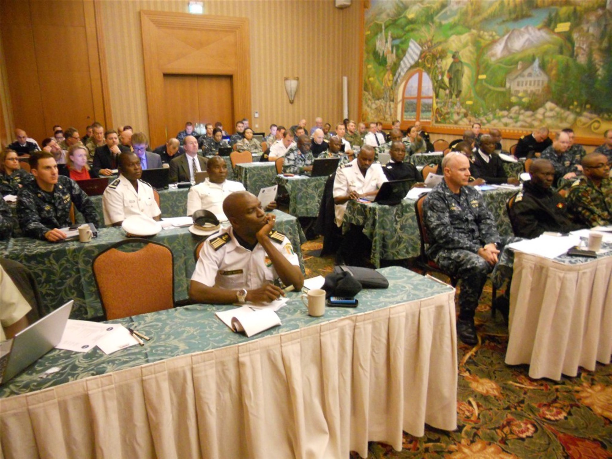 Planners from more than 20 African and European maritime nations attend a final planning conference in Garmisch-Partenkirchen, Germany, for Exercise Obangame Express Jan. 12, 2015. The exercise will take place in the Gulf of Guinea in March 2015, and will focus on developing regional maritime interoperability. (U.S. Navy photo by Lt. Cmdr. Kent Laborde/Released)