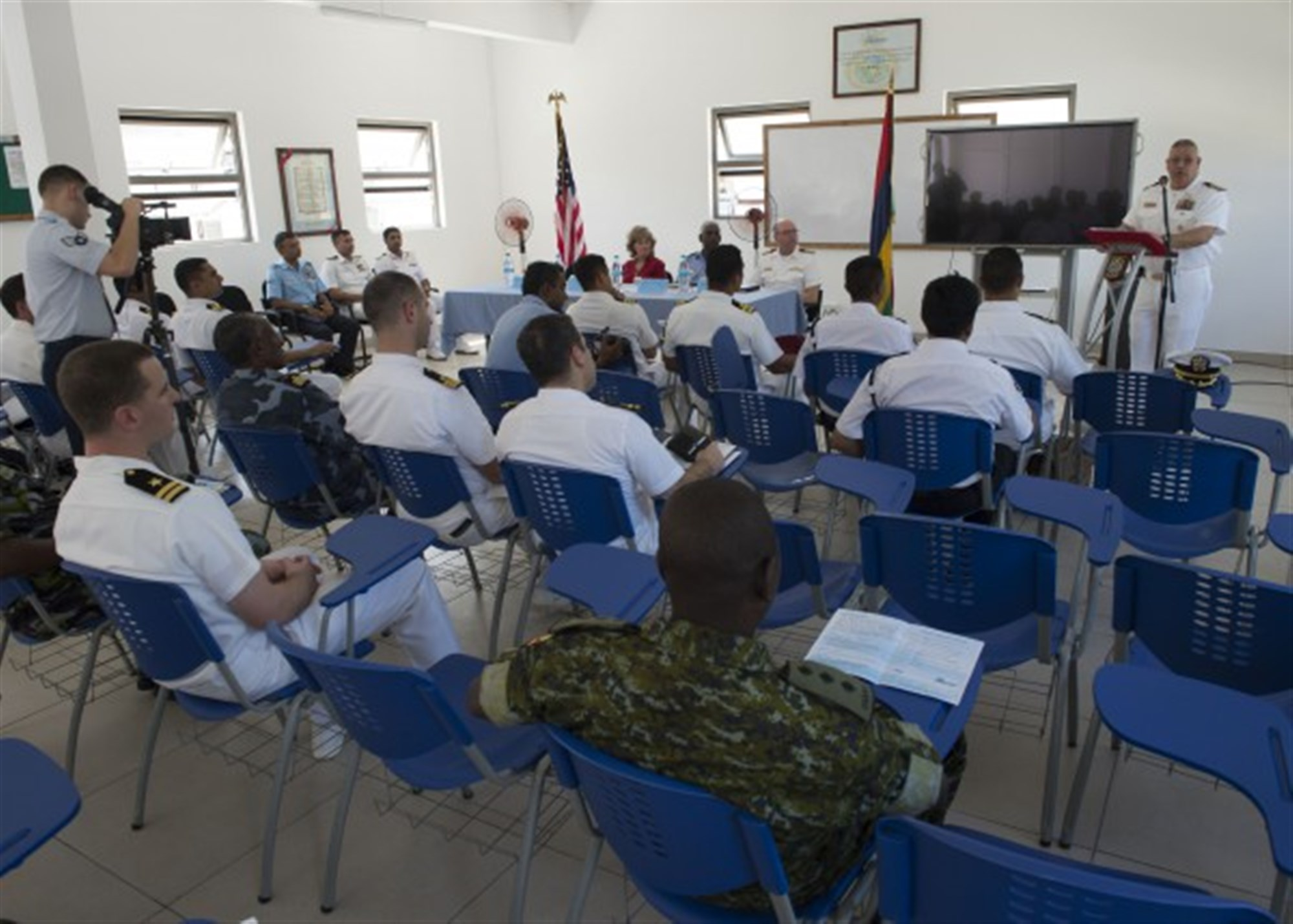 LE CHALAND, Mauritius (Jan. 28, 2015) Capt. Rich Dromerhauser, deputy commodore CTF-65, addresses attendees during the opening ceremony of Exercise Cutlass Express 2015, Jan. 28. Exercise Cutlass Express 2015, sponsored by U.S. Africa Command, is designed to improve regional cooperation, maritime domain awareness, and information sharing practices to increase capabilities of East African and Indian Ocean nations to counter sea-based illicit activity. (U.S. Navy photo by Mass Communication Specialist 1st Class David R. Krigbaum/Released)