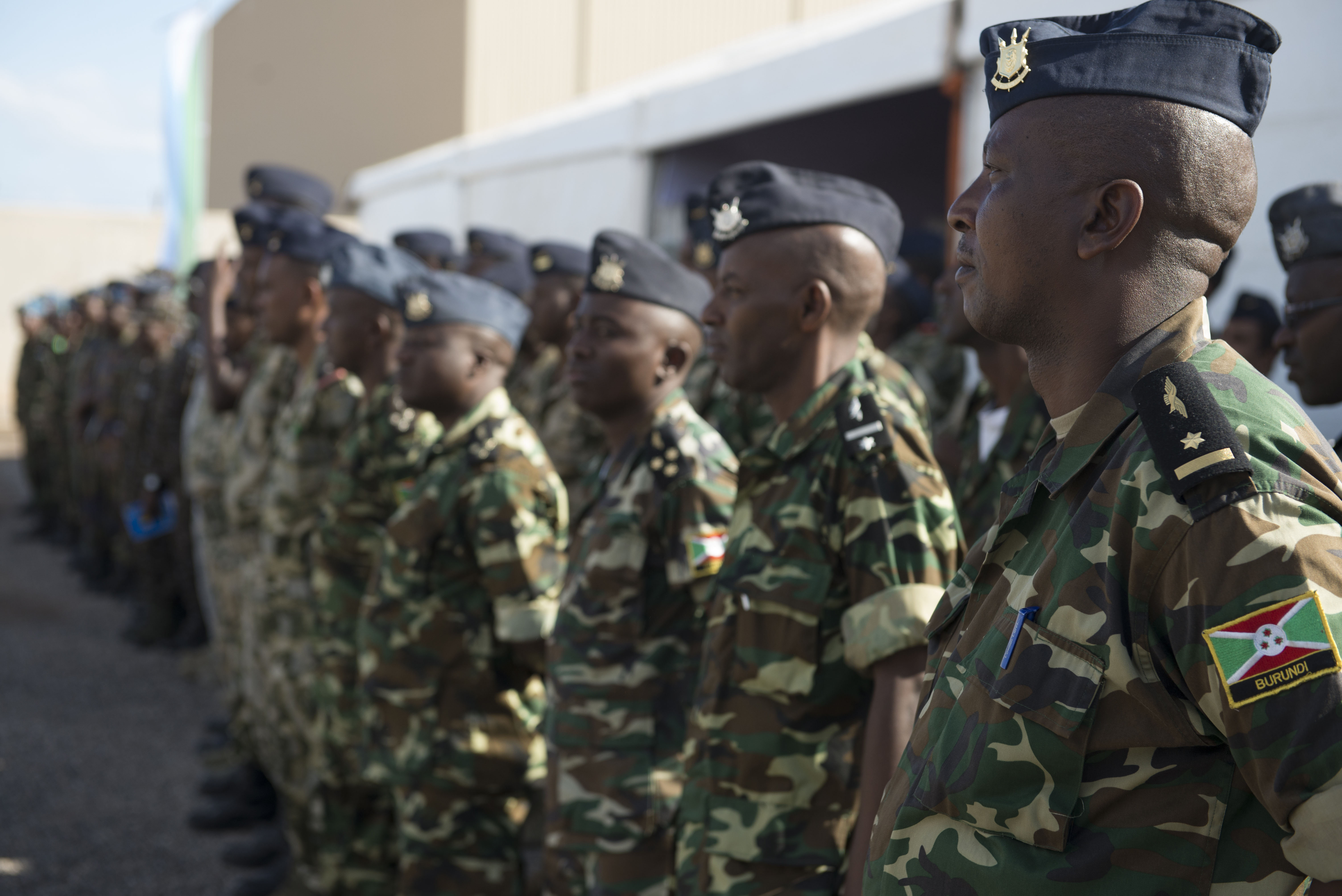 DJIBOUTI AIR BASE, Djibouti -- Burundi Airmen stand in formation during the opening ceremony for African Partnership Flight on Djibouti Air Base, Djibouti, Feb. 7, 2015. African Partnership Flight is the premier program for delivering aviation security cooperation. (U.S. Air Force photo/Tech. Sgt. Benjamin Wilson
