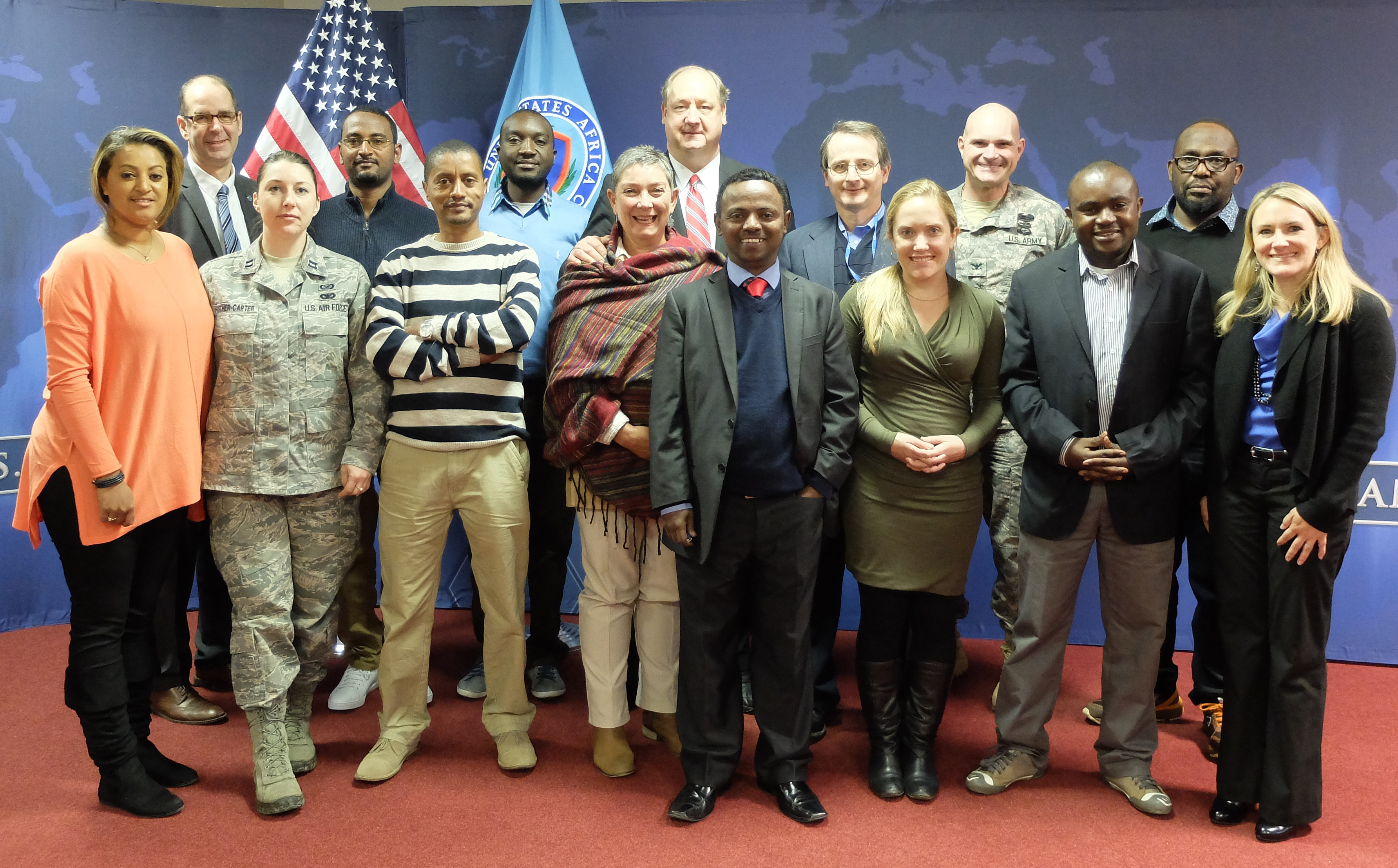 A delegation of African Union journalists spent the week of 9-12 Feb., 2015 visiting U.S. Africa Command to learn about the command's mission and programs. (U.S. AFRICOM photos by Brenda Law/Released)