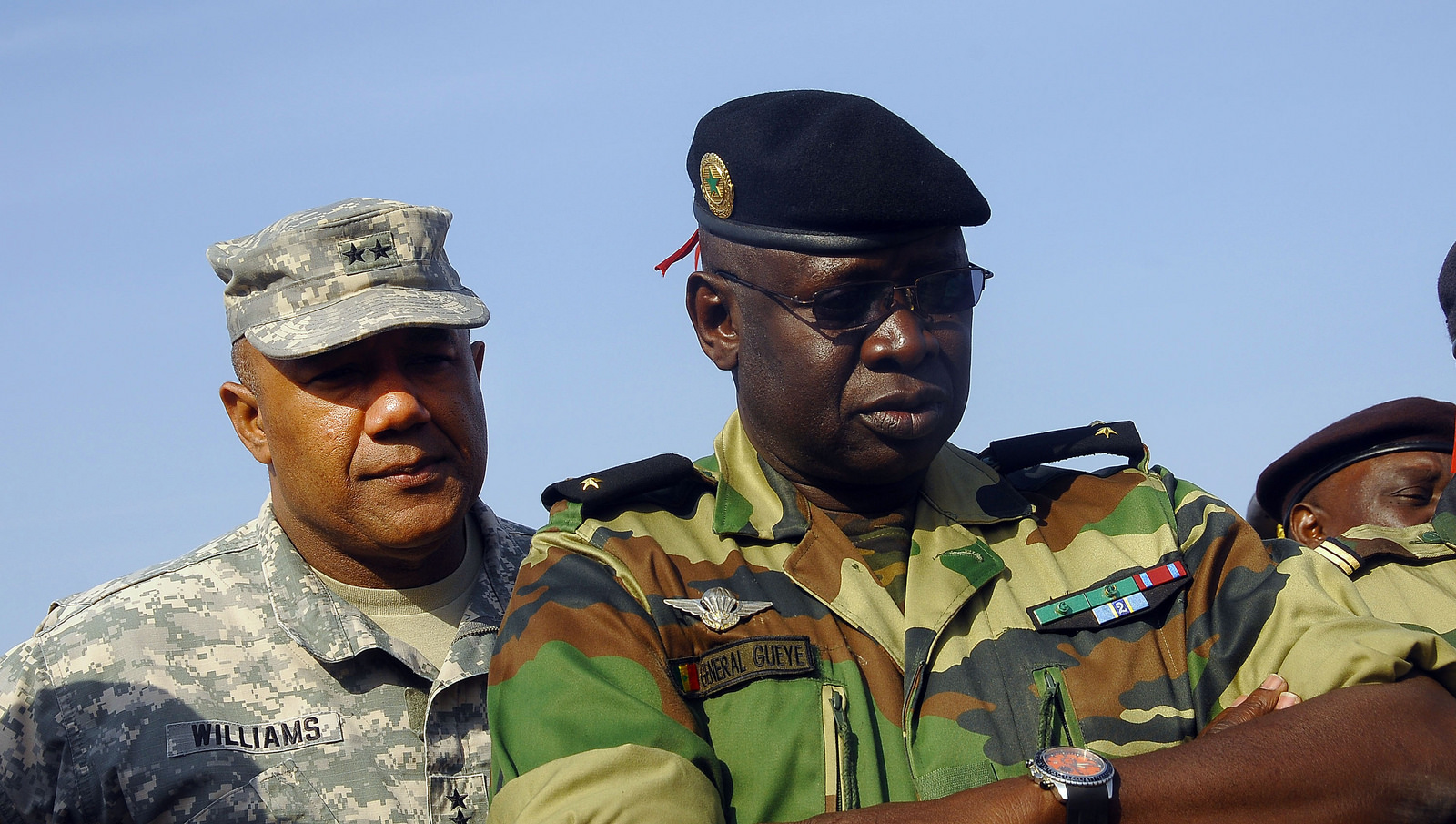 Maj. Gen. Darryl A. Williams (left), U.S. Army Africa commander, and Brig. Gen. Cheikh Gueye, chief of Senegal Army Staff, watch Senegalese Armed Forces soldiers participate in a demonstration at a live fire range near Thies, Senegal, during the African Land Forces Summit, held in Dakar, Senegal, Feb. 9-12. (U.S. Army Africa photo by Pfc. Criag Philbrick)