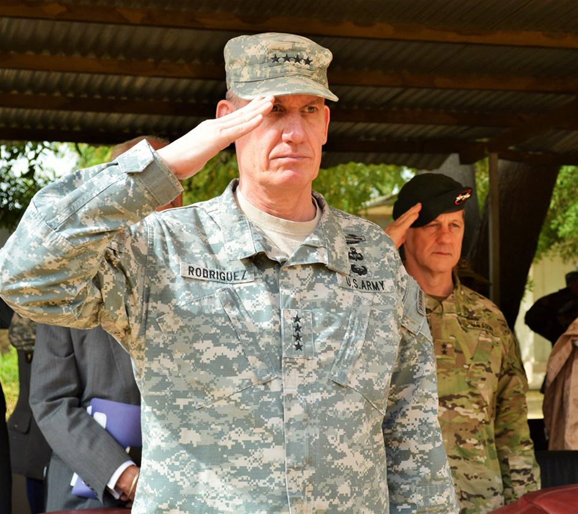 U.S. Army Gen. David Rodriguez at the closing ceremony for Flintlock, Mar. 9, 2015, N'Djamena, Chad. (Photo by U.S. Army Sgt. 1st Class Jessica Espinosa, U.S. Special Operations Command Africa/RELEASED)