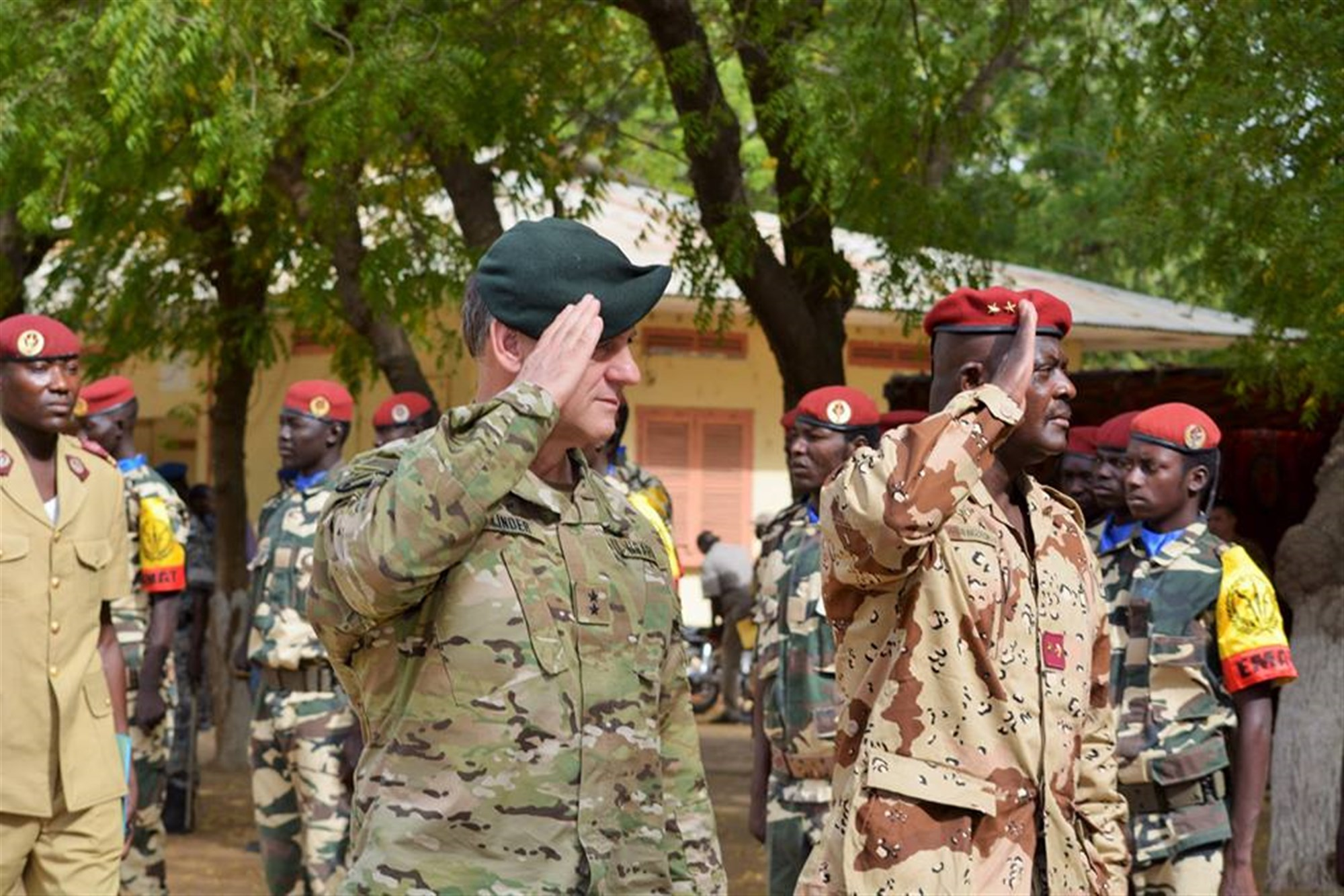 Flintlock 2015 Chadian Exercise Director, Brig. Gen. Zakaria Ngobongue (right) and U.S. Special Operations Command Africa Commanding General, U.S. Army Maj. Gen. James Linder at the closing ceremony for Flintlock in N'Djamena, Chad. (Photo by U.S. Army Sgt. 1st Class Jessica Espinosa, U.S. Special Operations Command Africa/RELEASED)
