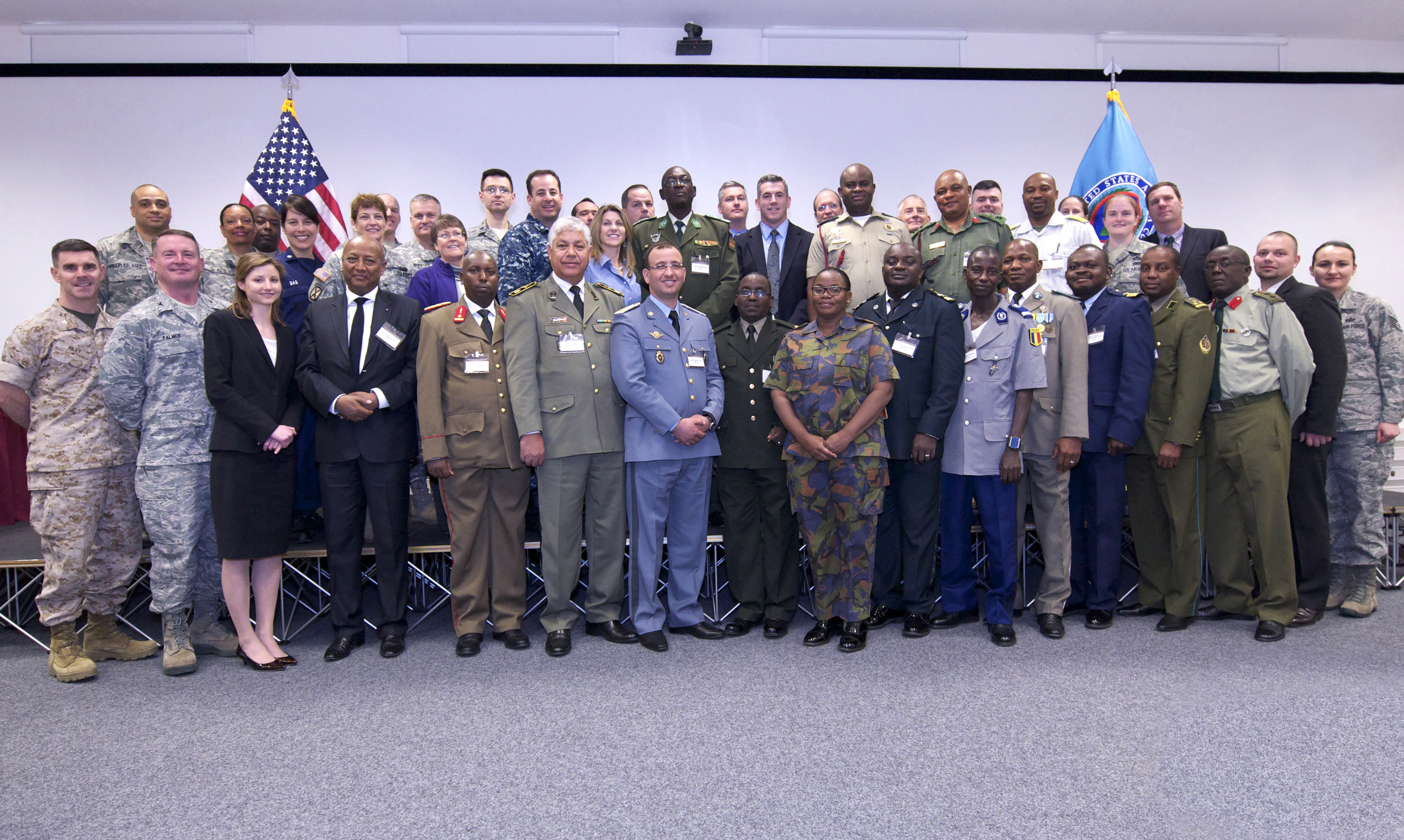 """The Rule of Law is our most important export."" – U.S. Marine Corps Lt. Gen. Steven Hummer, AFRICOM Dep. Cdr. for Military Operations.  Military lawyers from 17 African nations have joined U.S. counterparts to discuss a variety of legal topics during a forum hosted by U.S. Africa Command, Mar. 17-19, 2015, at the U.S. Army Garrison Stuttgart, Kelley Barracks. (U.S. Africa Command photo by Brenda Law/RELEASED)"