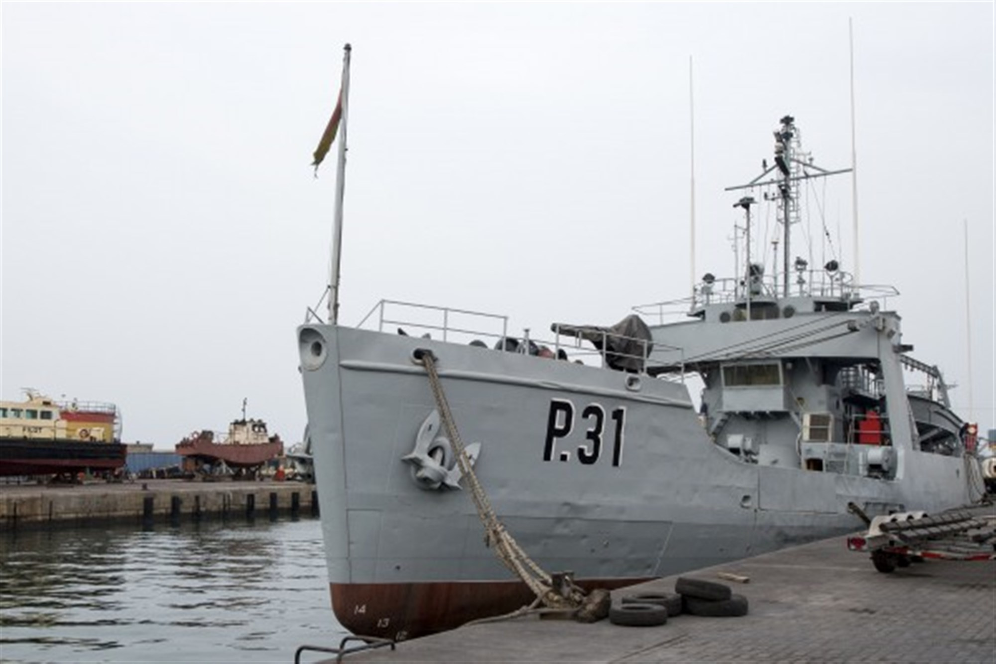 TEMA, Ghana (March 19, 2015) – GNS Bonsu, a former U.S. Coast Guard ship sold to the Ghana navy in 2001, is moored at the port of Tema, Ghana, March 19, 2015. Bonsu is currently docked as it awaits repairs, and is scheduled to participate in work-up trials later this summer. (U.S. Navy photo by Mass Communication Specialist 3rd Class Luis R. Chavez Jr/Released)