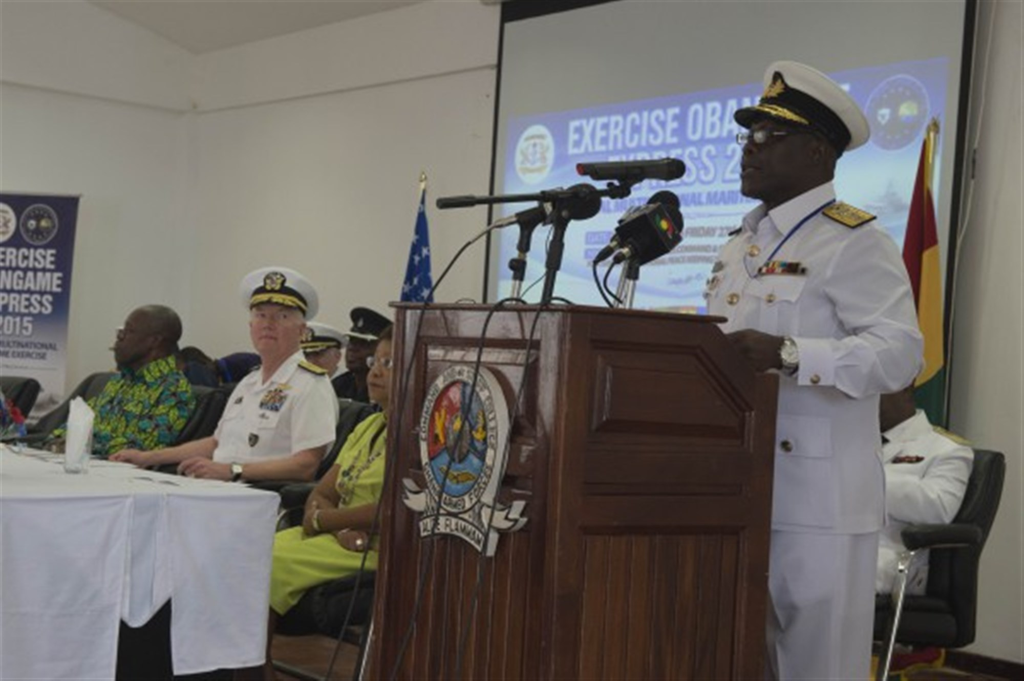 Ghanaian Chief of the Naval Staff Rear Adm. Geoffrey Mawuli Biekro speaks during the closing ceremony of Exercise Obangame Express March 27, 2015. Obangame Express is a U.S. Africa Command-sponsored multinational maritime exercise designed to increase maritime safety and security in the Gulf of Guinea. (U.S. Navy photo by Mass Communication Specialist 1st Class David R. Krigbaum/Released)