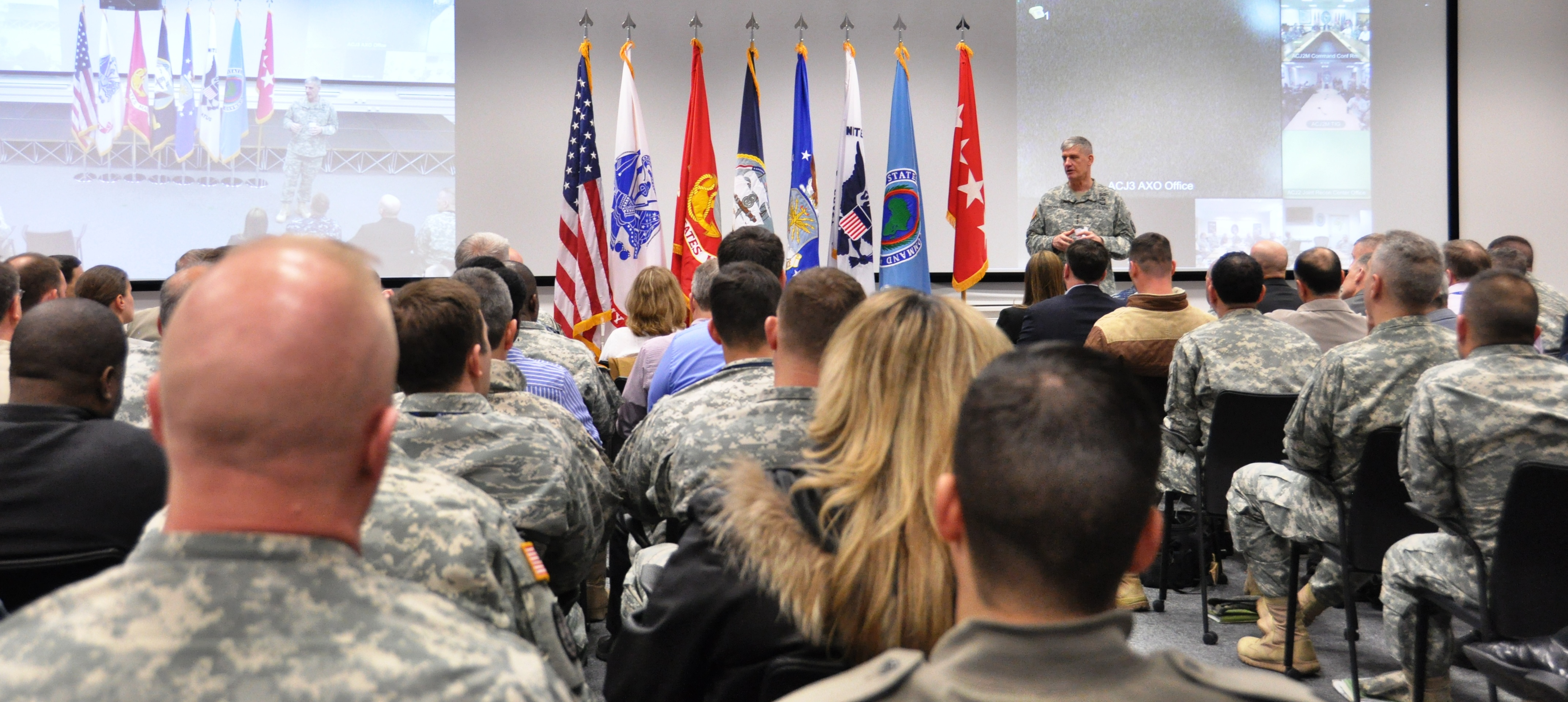 Gen. David M. Rodriguez, U.S. Africa Command commander, addresses staff members at the command's headquarters during an all-hands call at the event center here March 27, 2015. The all hands was held in conjunction with the 4th Quarter Awards ceremony.  (AFRICOM photo by Tech. Sgt. Olufemi A. Owolabi)