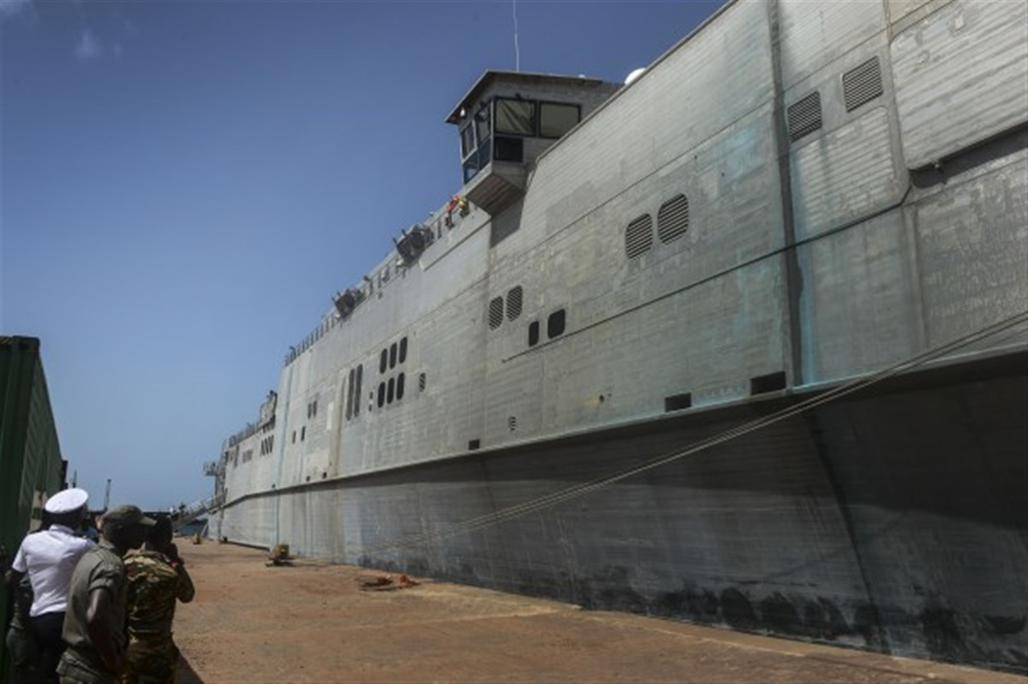 150406-N-RB579-025 PORT GENTIL, Gabon (April 6, 2015) The Military Sealift Command's joint high-speed vessel USNS Spearhead (JHSV 1) moored in Port Gentil, Gabon April 6, 2015. Spearhead is on a scheduled deployment to the U.S. 6th Fleet area of operations in support of the international collaborative capacity-building program Africa Partnership Station. (U.S. Navy photo by Mass Communication Specialist 1st Class Joshua Davies/Released)