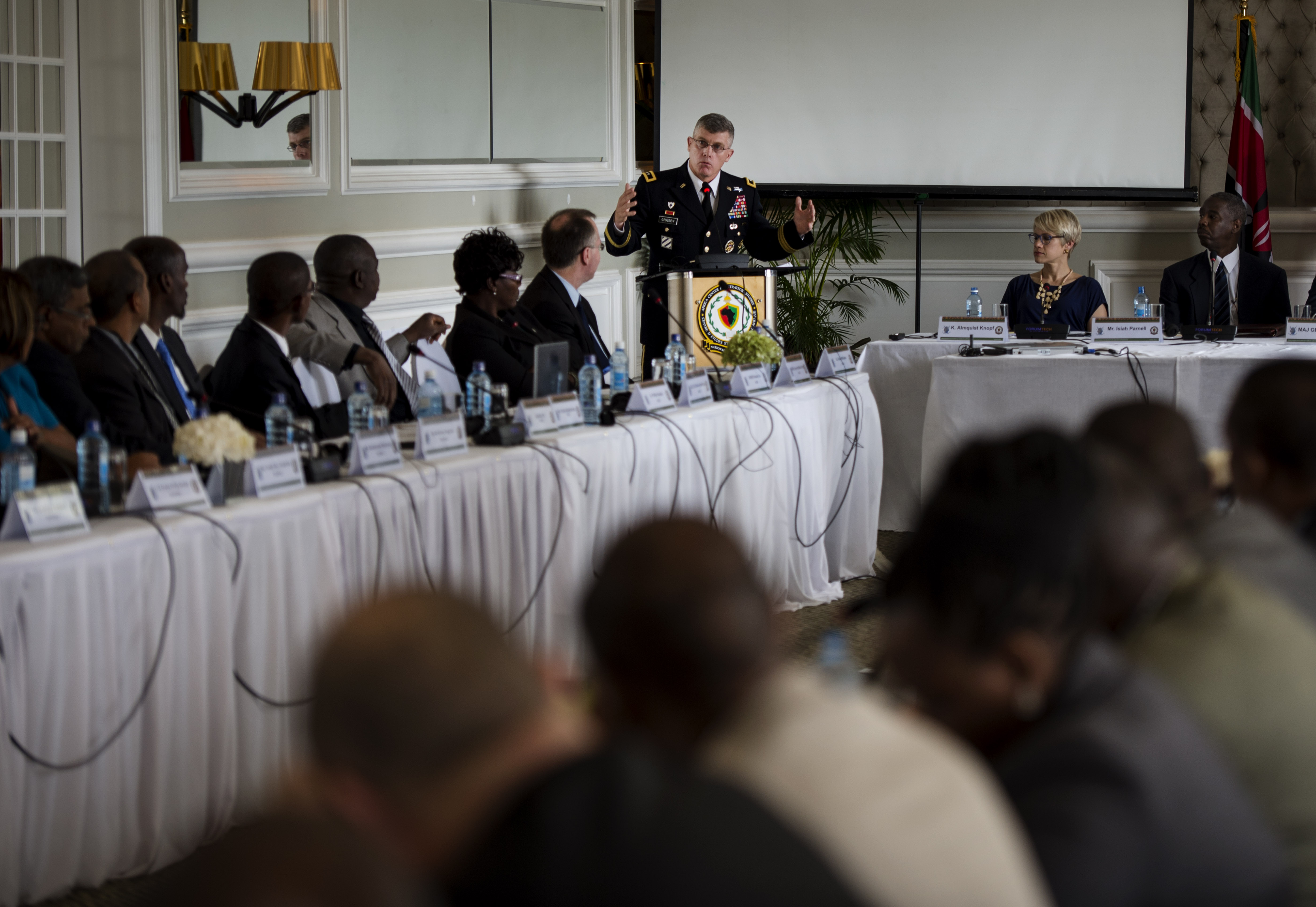 "U.S. Army Maj. Gen. Wayne W. Grigsby, Jr., Combined Joint Task Force-Horn of Africa commanding general, presents his perspective on why the Profession of Arms is vital to an organization at the Senior Leaders Summit, ""Professionalization of Forces in the Horn of Africa,"" in Nairobi, Kenya, Apr. 8, 2015. The conference brought together senior leadership from U.S. Africa Command; notably Ambassador Phillip Carter, (Deputy to the Commander for Civil-Military Engagement of United States Africa Command), CJTF-HOA and East Africa nations for a three-day conference guided around the Profession of Arms. (U.S. Air Force Photo by Staff Sgt. Carlin Leslie)"