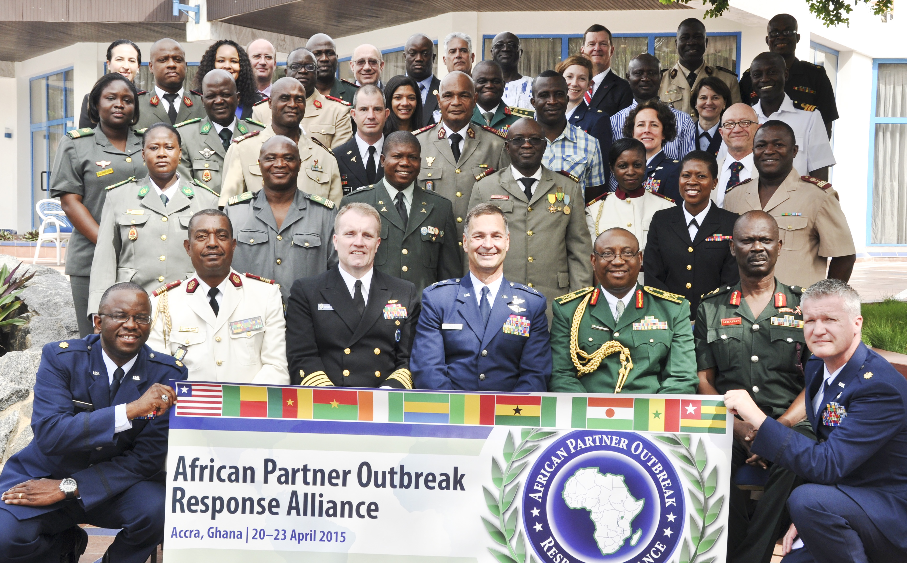 Participants of the first African Partner Outbreak Response Alliance meeting pose for a photo in Accra, Ghana, April 20, 2015.  More than 60 military and civilian doctors and medical practitioners from 12 African nations attended the meeting to discuss the capabilities of African partner nations to respond to a disease outbreak. (U.S. Africa Command photo by Tech. Sgt. Olufemi A Owolabi)