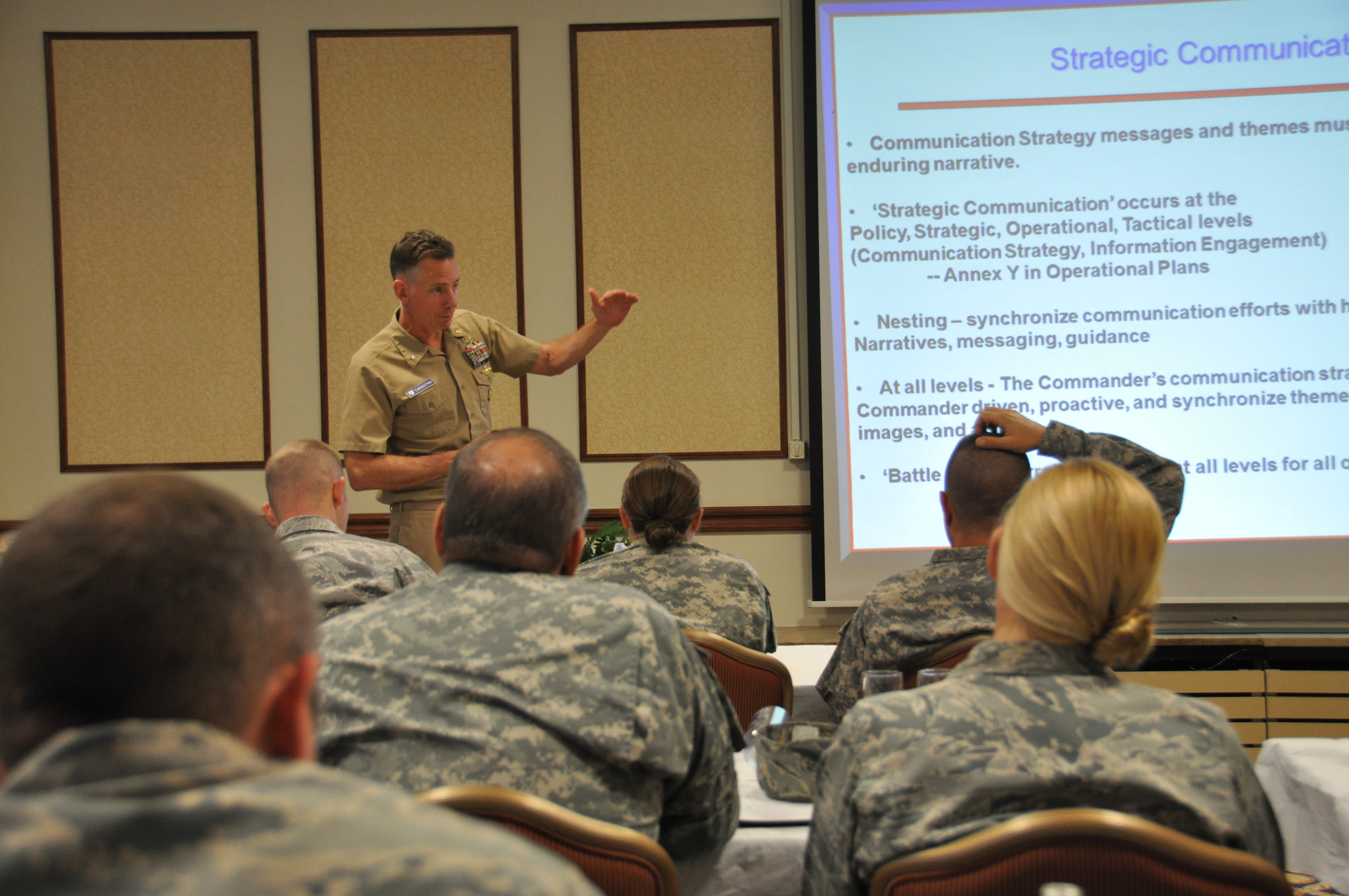 U.S. Navy Capt. (Dr.) David Tarantino, course director, Center for Disaster and Humanitarian Assistance Medicine, briefs on Understanding of the strategic, operational, and civil-military considerations during a three-day Global Health Engagement (GHE) and Medical Stability Operations (MSO) course held in Stuttgart, Germany. April 27-29, 2015.  More than 40 medical experts from U.S. Africa Command, its subordinate commands and the United States attended the course held in Stuttgart, Germany, to build an awareness of the complex set of variables that shape the development of Department of Defense Global Health Engagement (GHE) and Medical Stability Operations (MSO).  and to also help medical practitioners here gain an understanding of the key principles to plan and conduct a GHE/MSO activity. The course was hosted by the AFRICOM command surgeon's office.  (AFRICOM photo by Tech. Sgt. Olufemi A. Owolabi)