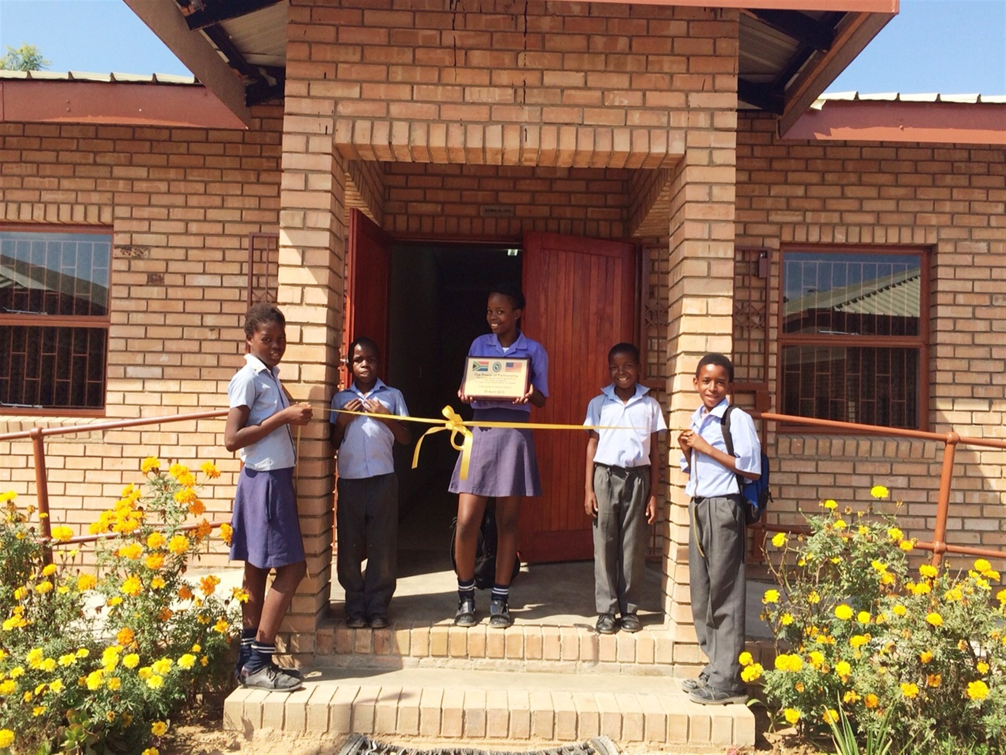 The new classrooms at the Lesodi-Motlana primary school house 230 students in grades five through seven. An administrative building and hygienic latrines were also constructed.