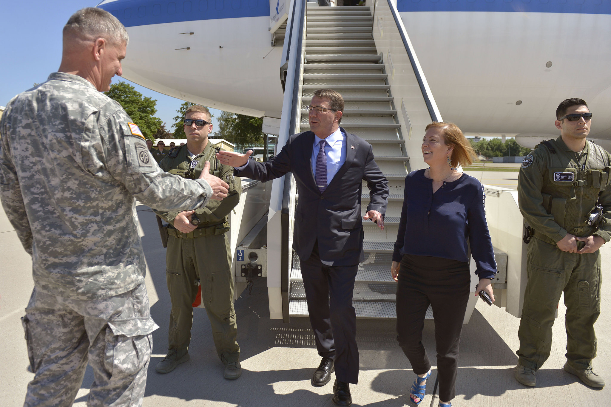 U.S. Army Gen. David M. Rodriguez, commander of U.S. Africa Command, greets U.S. Defense Secretary Ash Carter, left, and his wife, Stephanie, as they arrive in Stuttgart, Germany, June 4, 2015, where Carter hosted a troop talk with U.S. service members. Carter is wrapping up a trip that also took him to the Asia-Pacific region where he met with allies and partners to advance the next phase of the rebalance. DoD photo by Glenn Fawcett