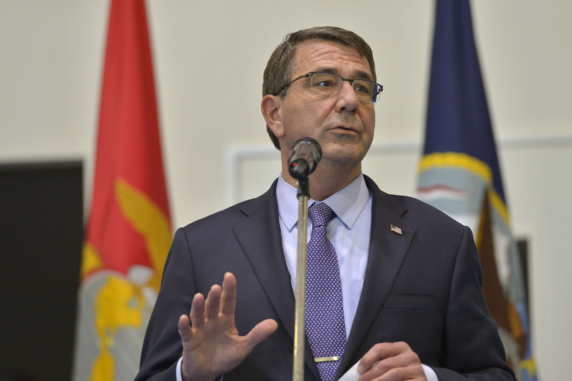 U.S. Defense Secretary Ash Carter addresses U.S. service members during a troop event at U.S. Africa Command headquarters in Stuttgart, Germany, June 4, 2015. DoD photo by Glenn Fawcett