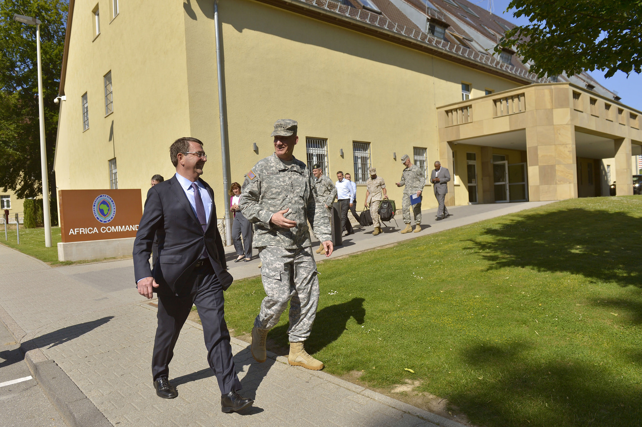 U.S. Defense Secretary Ash Carter walks with U.S. Army Gen. David M. Rodriguez, commander of U.S. Africa Command, to a troop event at the command's headquarters in Stuttgart, Germany, June 4, 2015. DoD photo by Glenn Fawcett