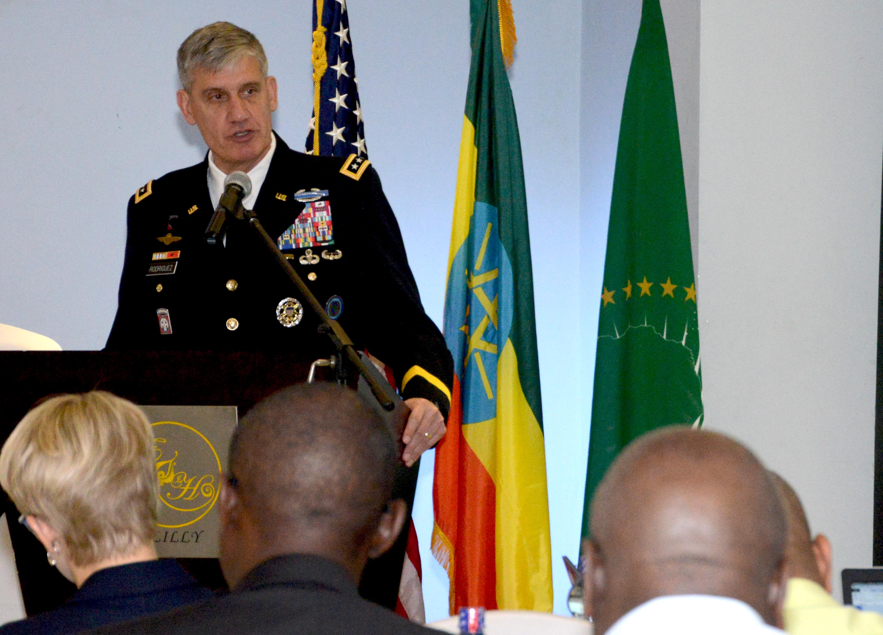 Gen. David Rodriguez, commander of U.S. Africa Command, delivers the keynote address during the Africa Logistics Forum in Addis Ababa, Ethiopia, June 23, 2015. Logisticians from 36 African nations and international partners attended the forum.