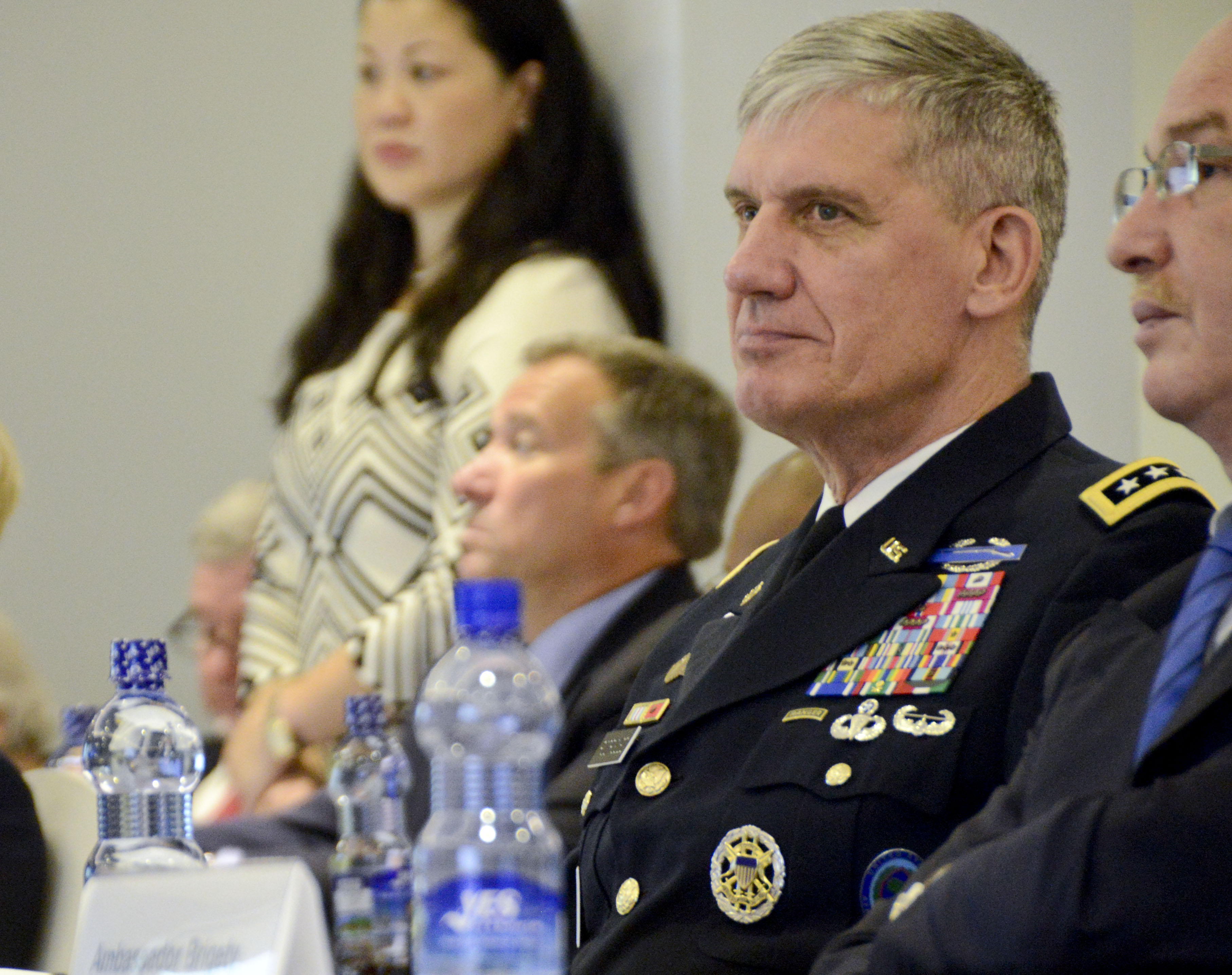 Gen. David Rodriguez, commander of U.S. Africa Command, listens to opening remarks during the Africa Logistics Forum in Addis Ababa, Ethiopia, June 23, 2015. Logisticians from 36 African nations and international partners attended the forum.