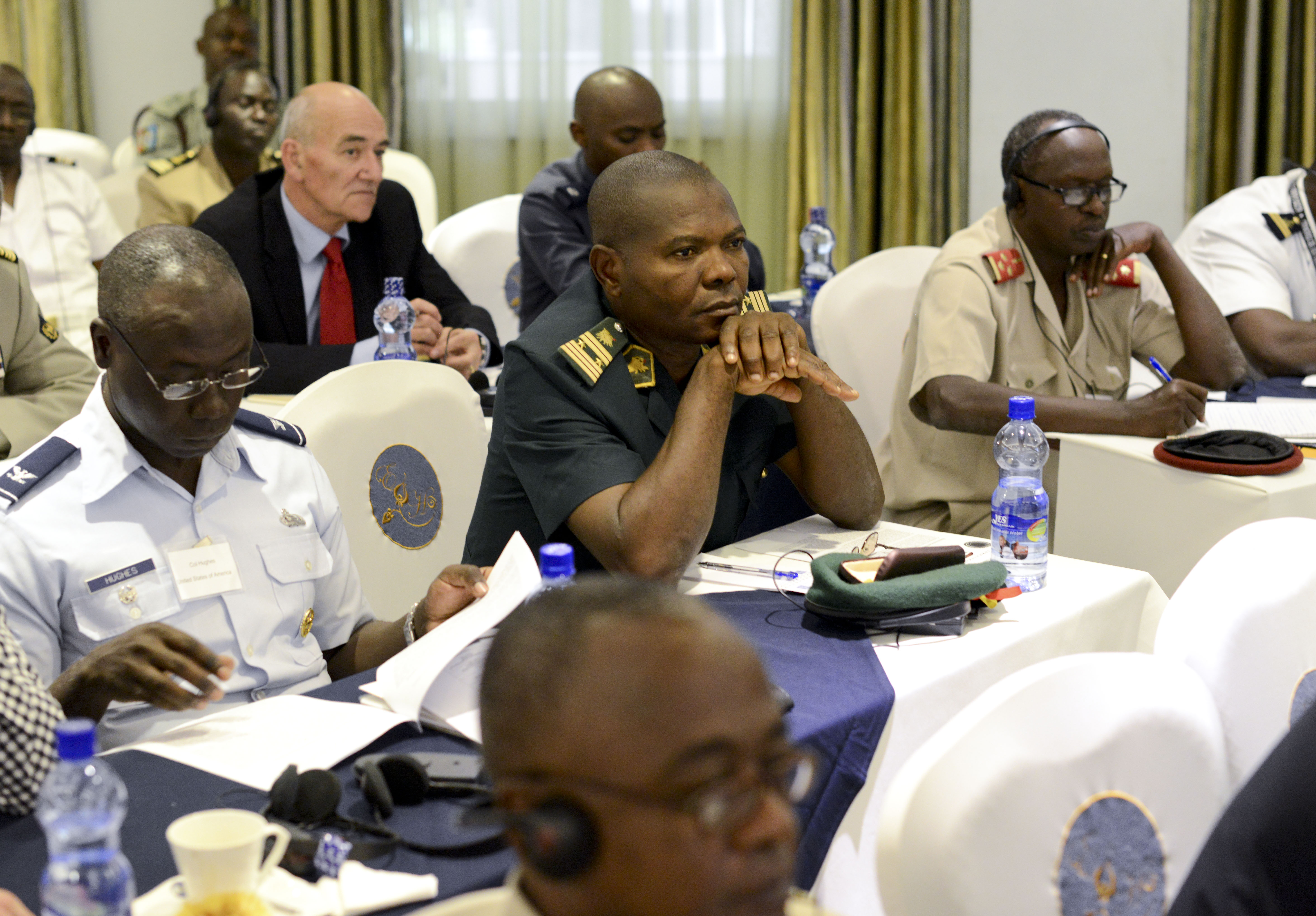 Participants listen to a panel discussion during the Africa Logistics Forum in Addis Ababa, Ethiopia, June 23, 2015. Logisticians from 36 African nations and international partners attended the forum.
