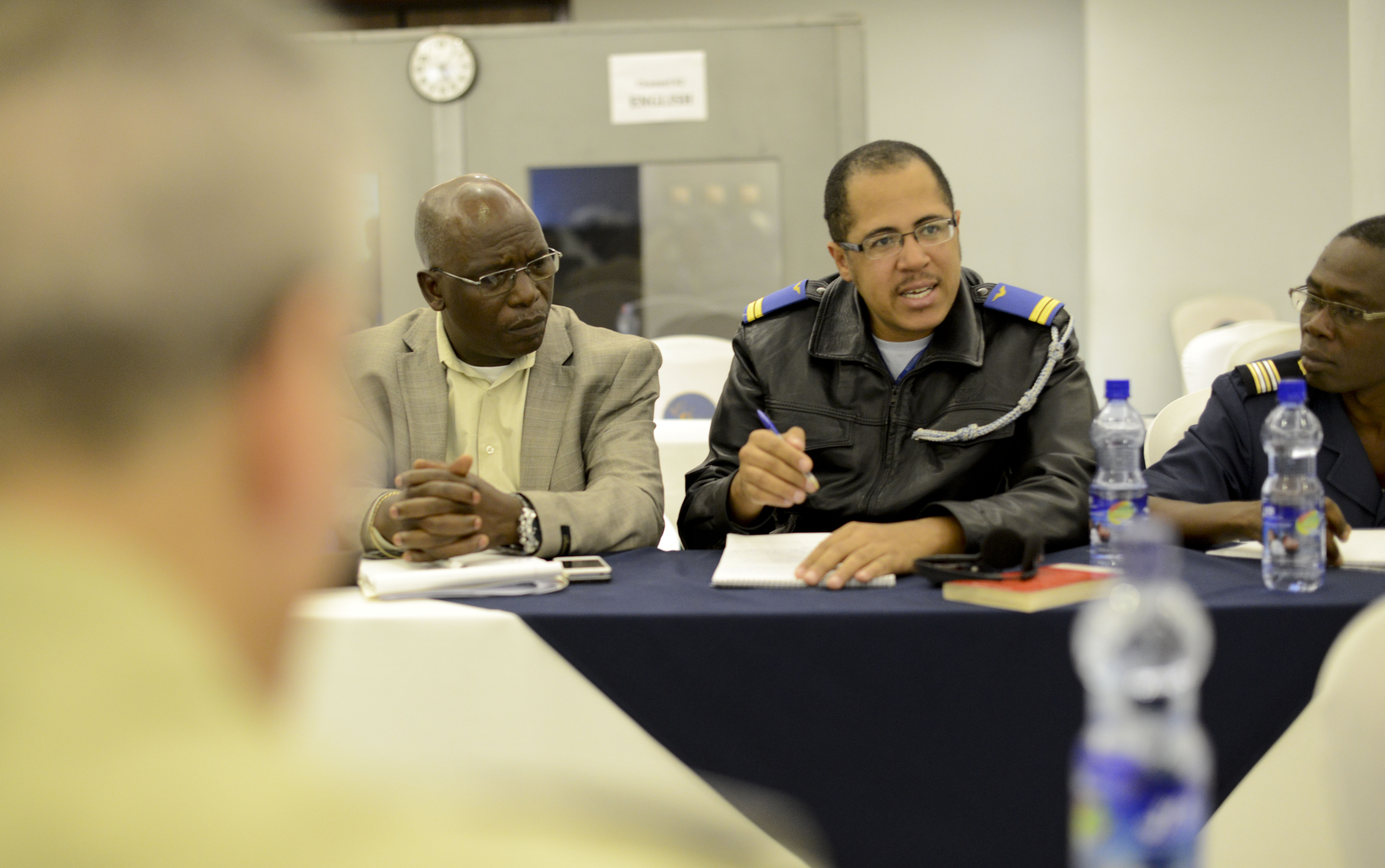Angola Army Lt. Carlos Pederneira speaks during a small group discussion during the Africa Logistics Forum in Addis Ababa, Ethiopia, June 24, 2015. Logisticians from 36 African nations and international partners attended the forum.