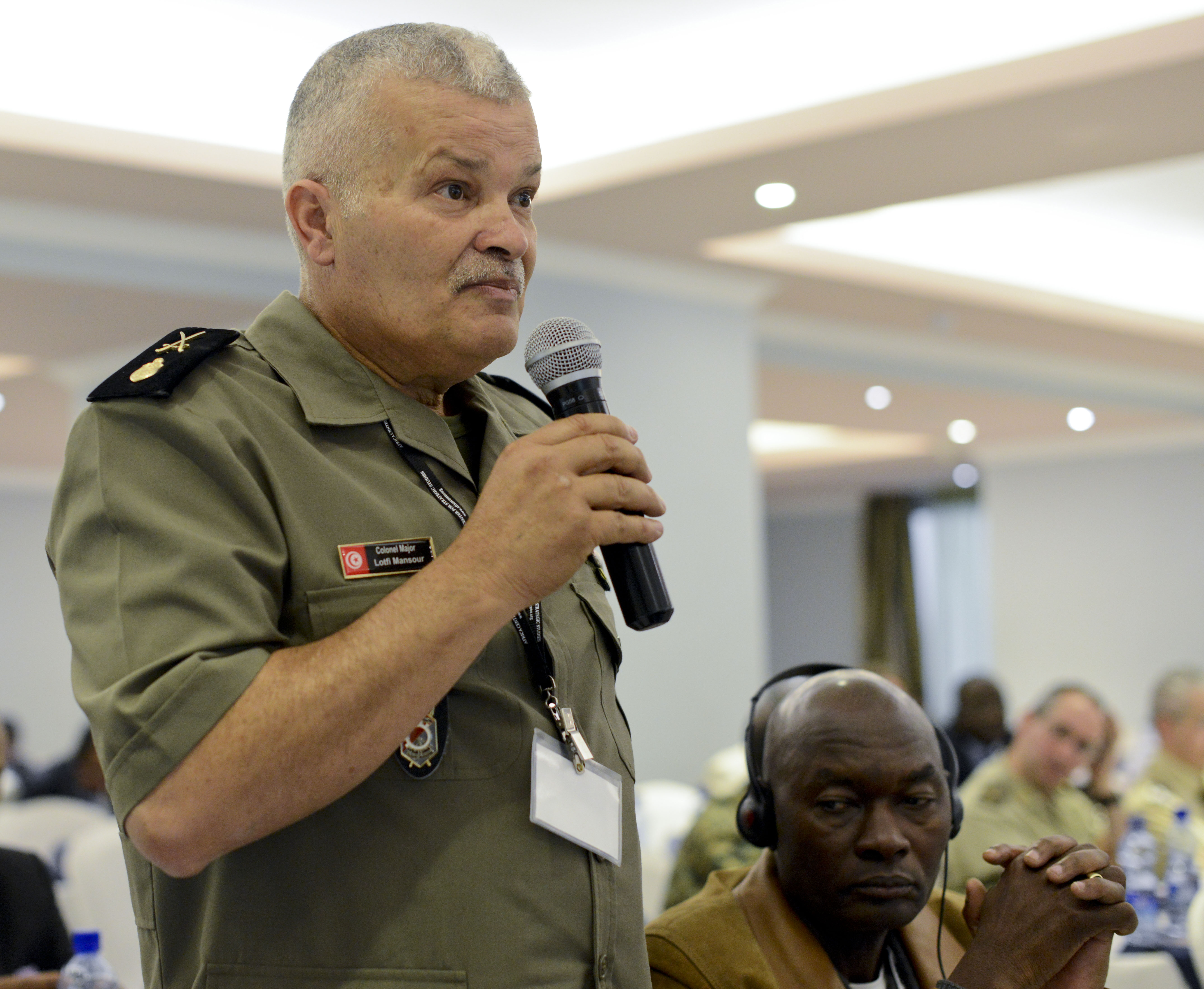 Tunisia Army Col. Maj. Lotfi Mansour asks panelists a question during the Africa Logistics Forum in Addis Ababa, Ethiopia, June 23, 2015. U.S. Africa Command sponsored the three-day forum in partnership with the Africa Union and the Africa Center for Strategic Studies.