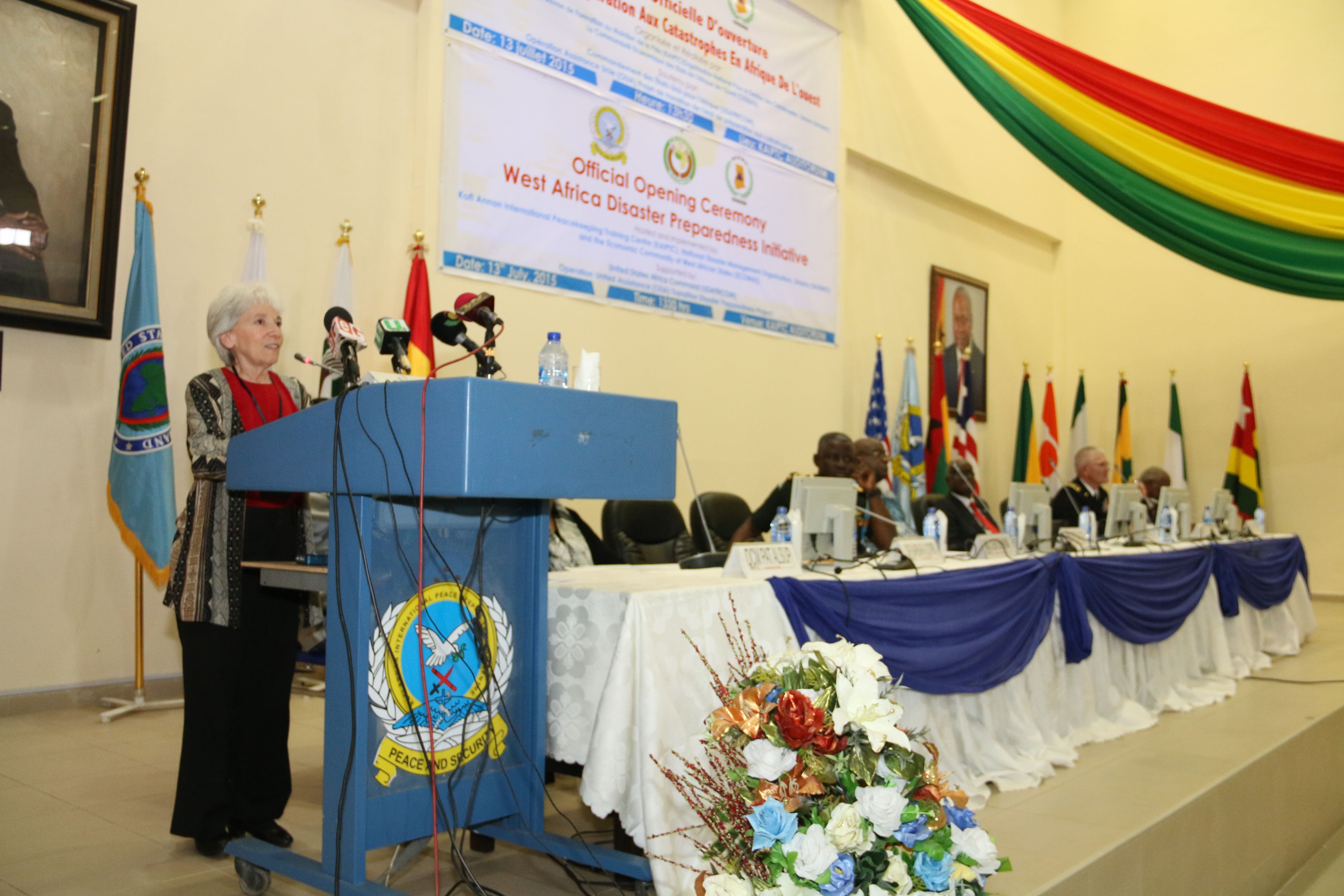 Dr. Barbara Sotirin, deputy director for programs at U.S. Africa Command, provides remarks during the opening ceremony for the the West Africa Disaster Preparedness Initiative at the Kofi Annan International Peacekeeping Training Center in Accra, Ghana July 13, 2015.