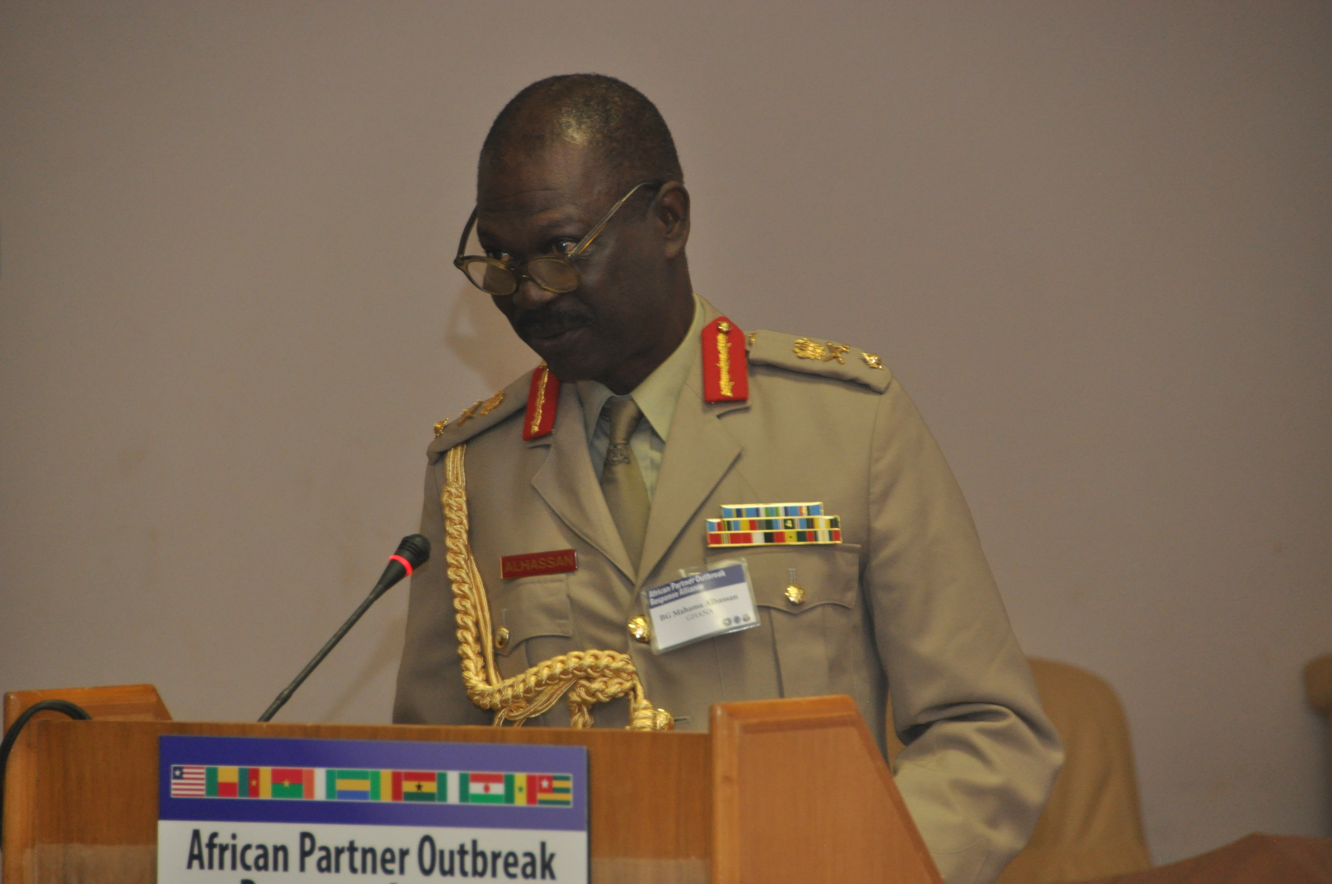 OUAGADOUGOU, Burkina Faso - Brig. Gen. Mahama Alhassan, APORA chair and director of Ghana Armed Forces Military Health Services, delivers opening remarks.