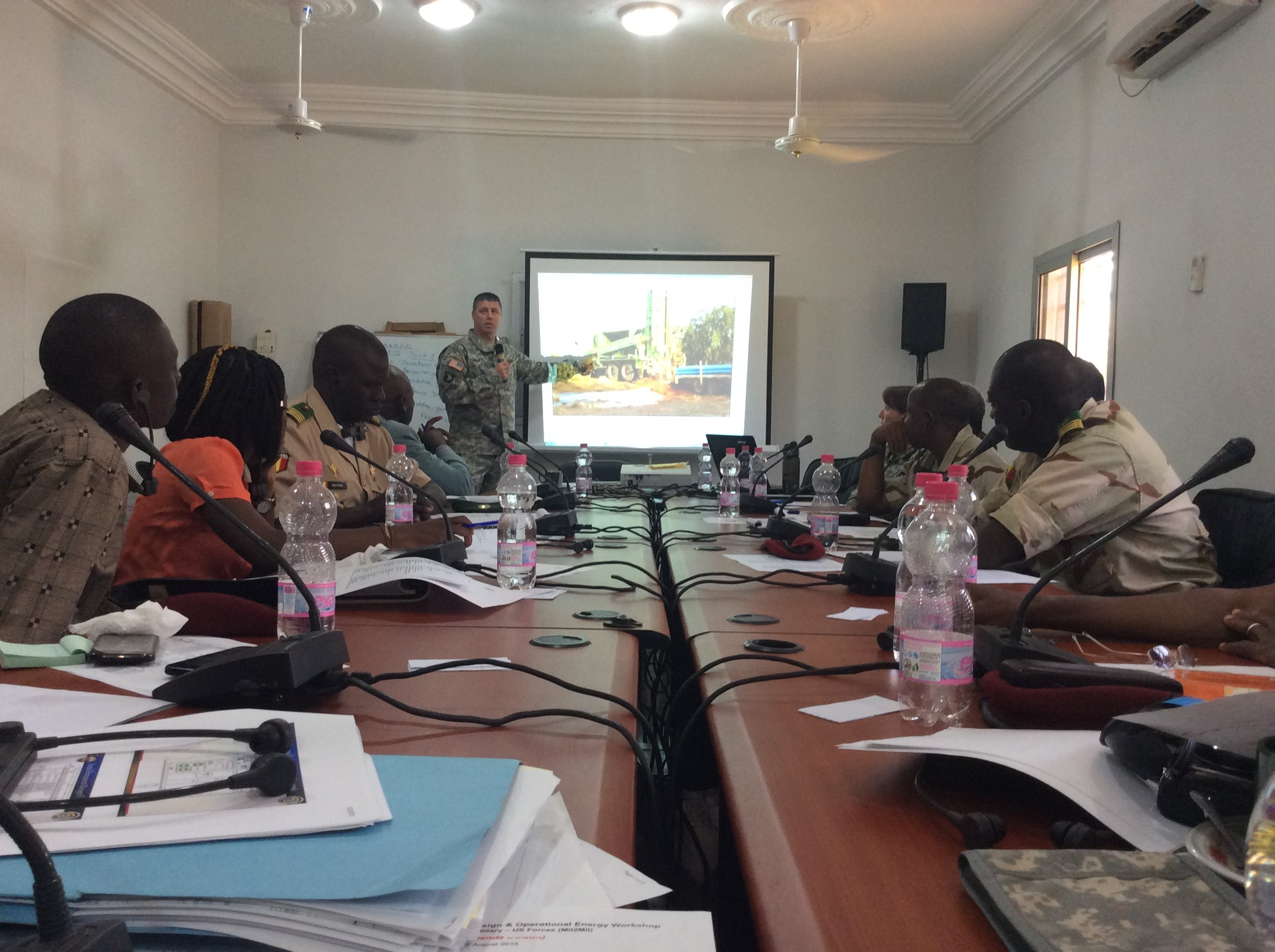BAMAKO, Mali - Lt. Col. Robert Hailey, USACE Liaison to AFRICOM, leads a discussion on base camp water management during the Mali Military Base Design and Operational Energy Workshop.