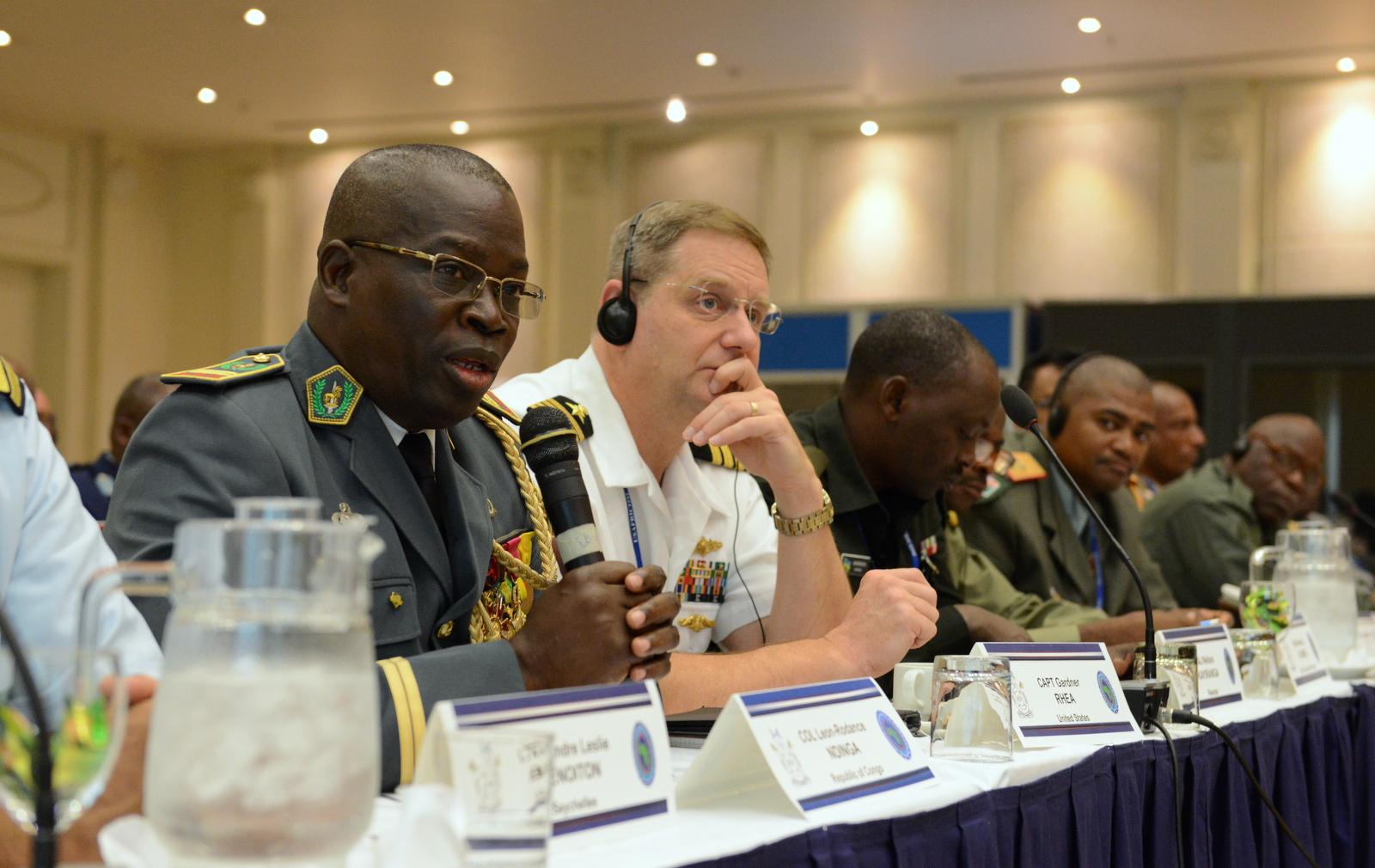 Armed Forces of the Republic of Congo Col. Leon-Rodance Ndinga comments during a table top exercise as part of Africa Endeavor 2015 in Gaborone, Botswana, Aug. 31, 2015. Sponsored by U.S. Africa Command, Africa Endeavor is an annual communications event designed to increase interoperability between partner nations in support of United Nations and African Union peacekeeping, disaster response and humanitarian assistance missions.