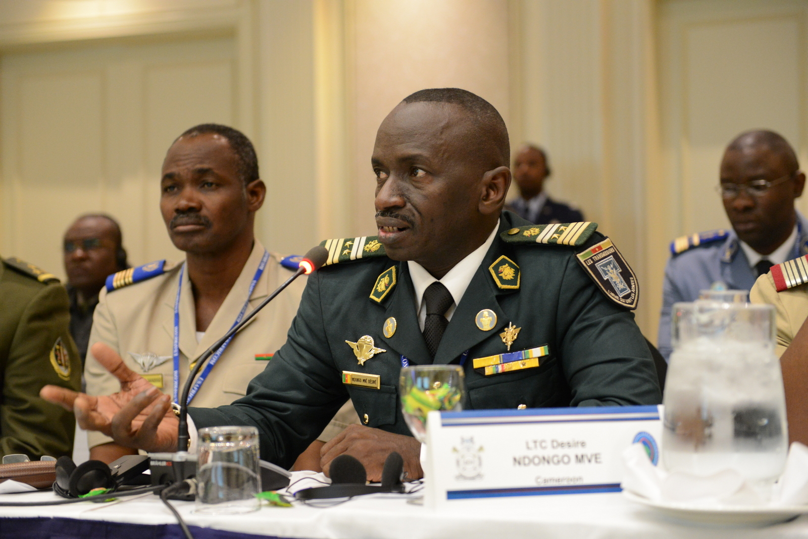 Cameroon Armed Forces Lt. Col. Ndongo Mvé Desiré comments during a table top exercise as part of Africa Endeavor 2015 in Gaborone, Botswana, Aug. 28, 2015. Sponsored by U.S. Africa Command, Africa Endeavor is an annual communications event designed to increase interoperability between partner nations in support of United Nations and African Union peacekeeping, disaster response and humanitarian assistance missions.