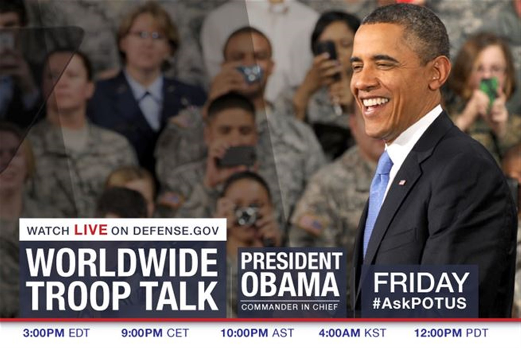 President Barack Obama is scheduled to talk with service members and answer questions during a worldwide troop talk Friday at 3 p.m. EDT.
