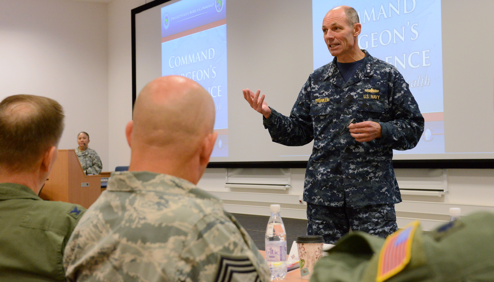U.S. Navy Vice Adm. Michael T. Franken, the deputy commander for military operations with U.S. Africa Command, speaks during the 2015 AFRICOM Command Surgeon's Conference at Kelley Barracks, U.S. Army Garrison Stuttgart, Germany, Sept. 10, 2015. The conference was a forum for medical providers and officers from U.S. component commands and partner nations to discuss how their medical operations collectively support AFRICOM's theater campaign plan.