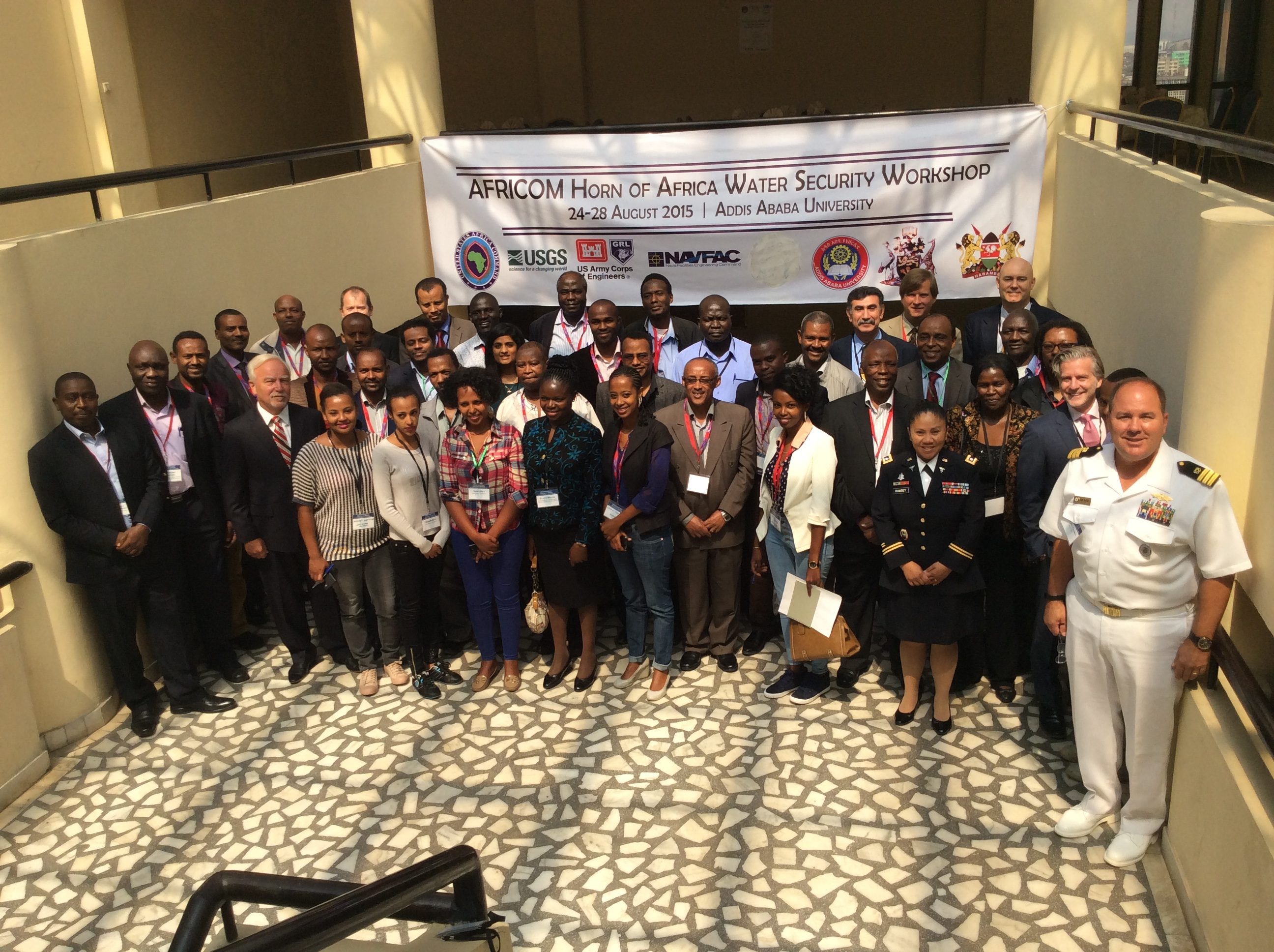 A group photo taken during the Horn of Africa Water Security Workshop in Addis Ababa, Ethiopia in August 2015. (Courtesy Photo)