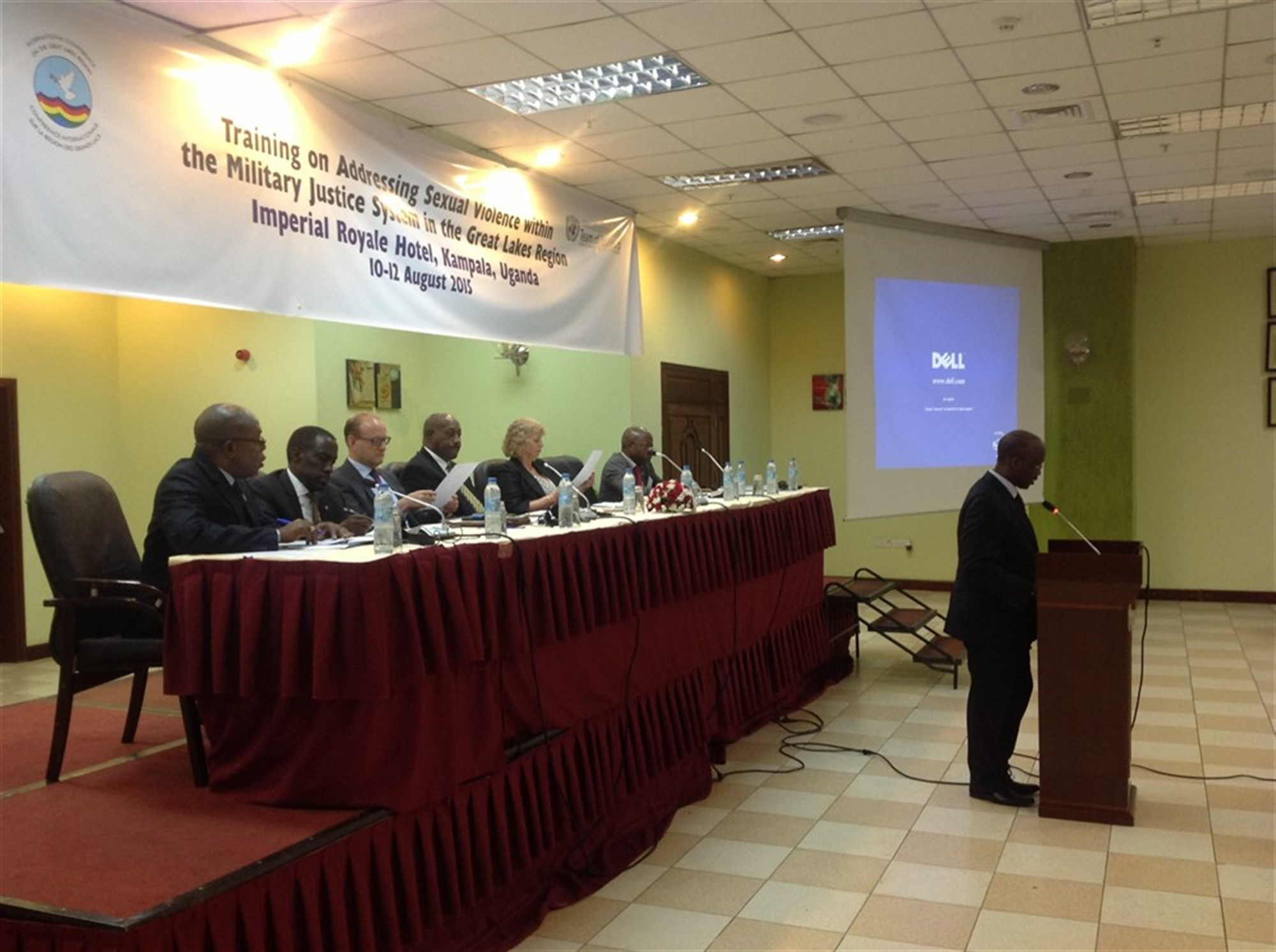 A speaker gives a presentation at the International Conference on the Great Lakes Region Regional Training Facility In Kampala, Uganda. The training addressed sexual violence within the military justice system and was held Aug. 10-12, 2015. (Courtesy photo)