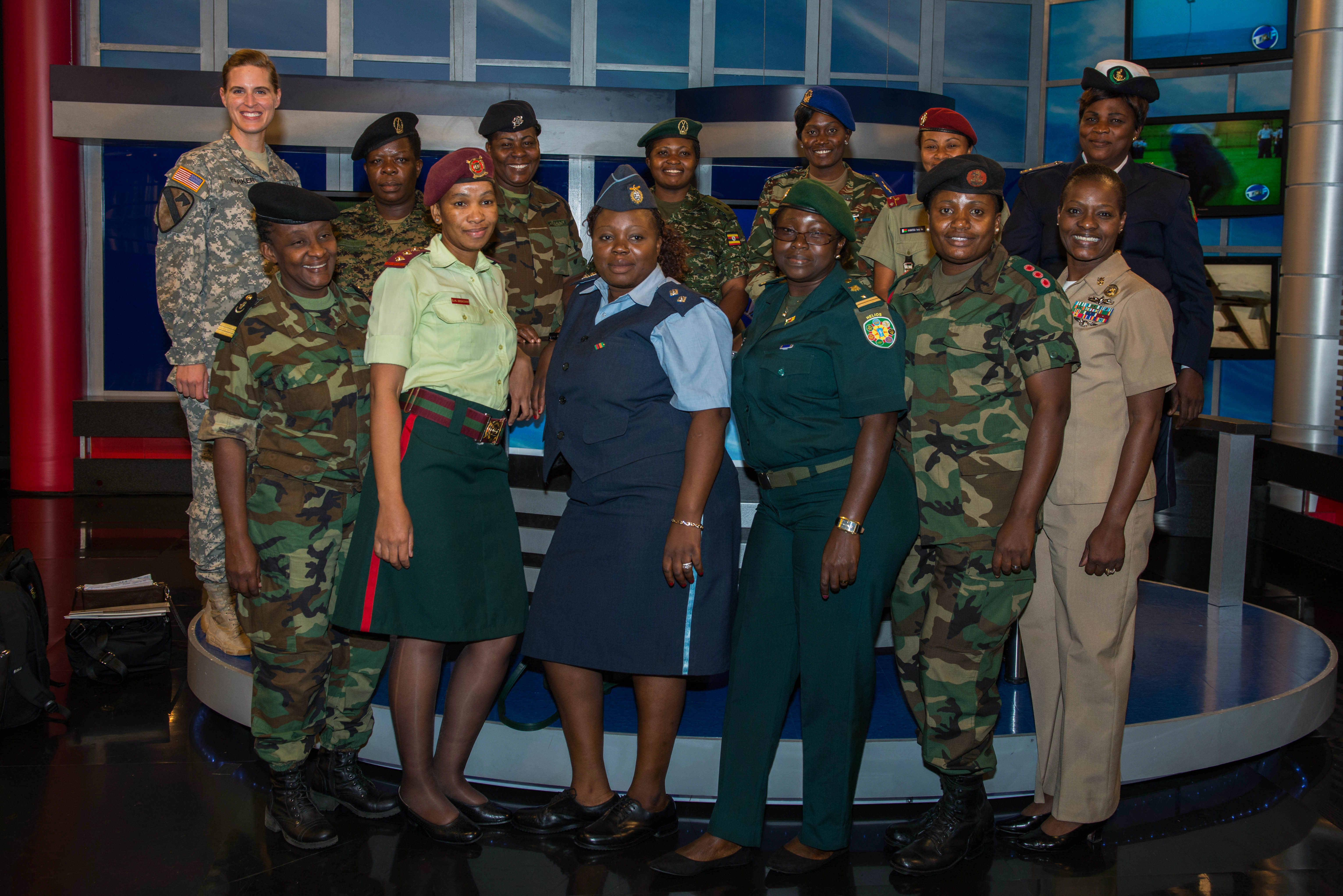 Officers and senior noncommissioned officers from U.S. and African partner nation militaries pose for a picture in Studio 1 at Defense Media Activity, Fort Meade, Maryland, Sept. 23, 2015. The tour was part of the weeklong U.S. Africa Command Women's Communication Forum which supports President Barack Obama's National Action Plan on Women's Peace and Security.