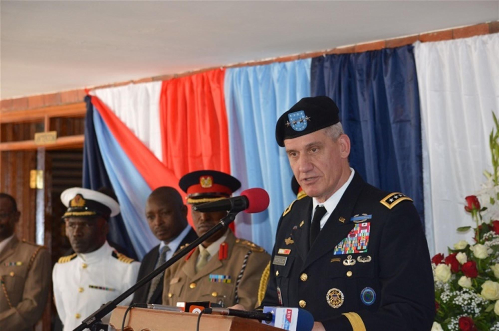 Gen. David Rodriguez, commander, U.S. Africa Command, delivers remarks during the State Partnership Program signing ceremony Oct. 1, 2015 between the Massachusetts National Guard and the Republic of Kenya.