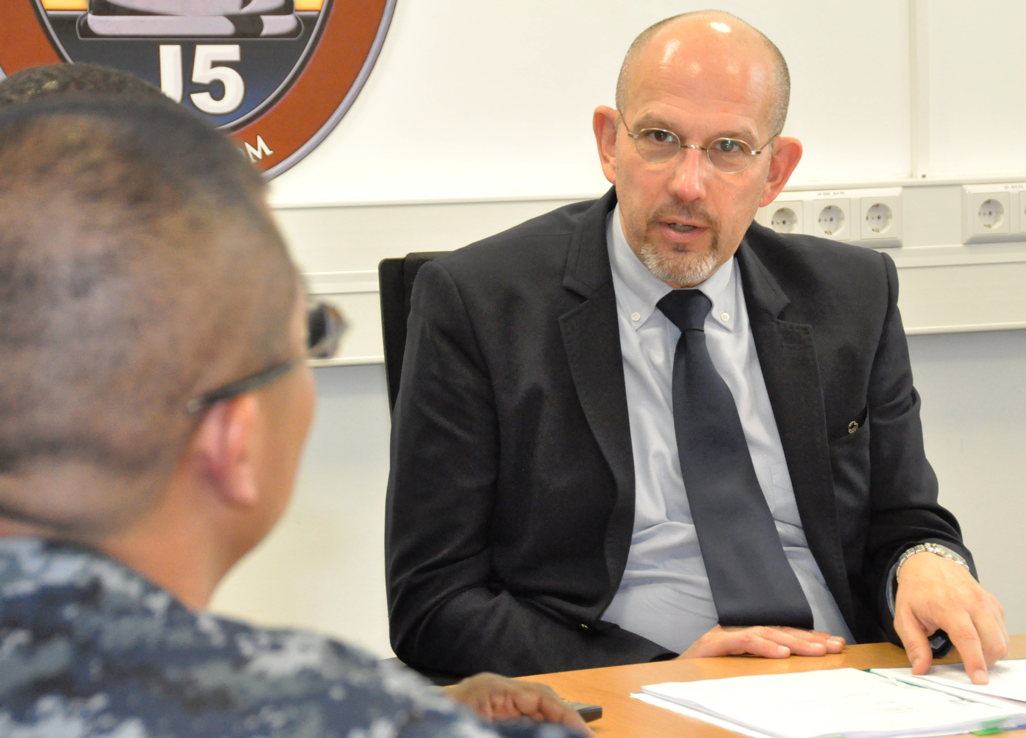 Multinational Cooperation Center hosts initial NATO staff exchange: Michel Soula, Head of all NATO Operations but Afghanistan, met with AFRICOM staff during a recent staff exchange visit, conducted Sept. 10, 2015, at AFRICOM's headquarters, U.S. Army Garrison, Stuttgart, GE. The MNCC is AFRICOM's hub for multinational cooperation and is primarily responsible for integrating international partners into staff processes that inform strategic planning and operations.  (USAFRICOM photo by Brenda Law/Released)
