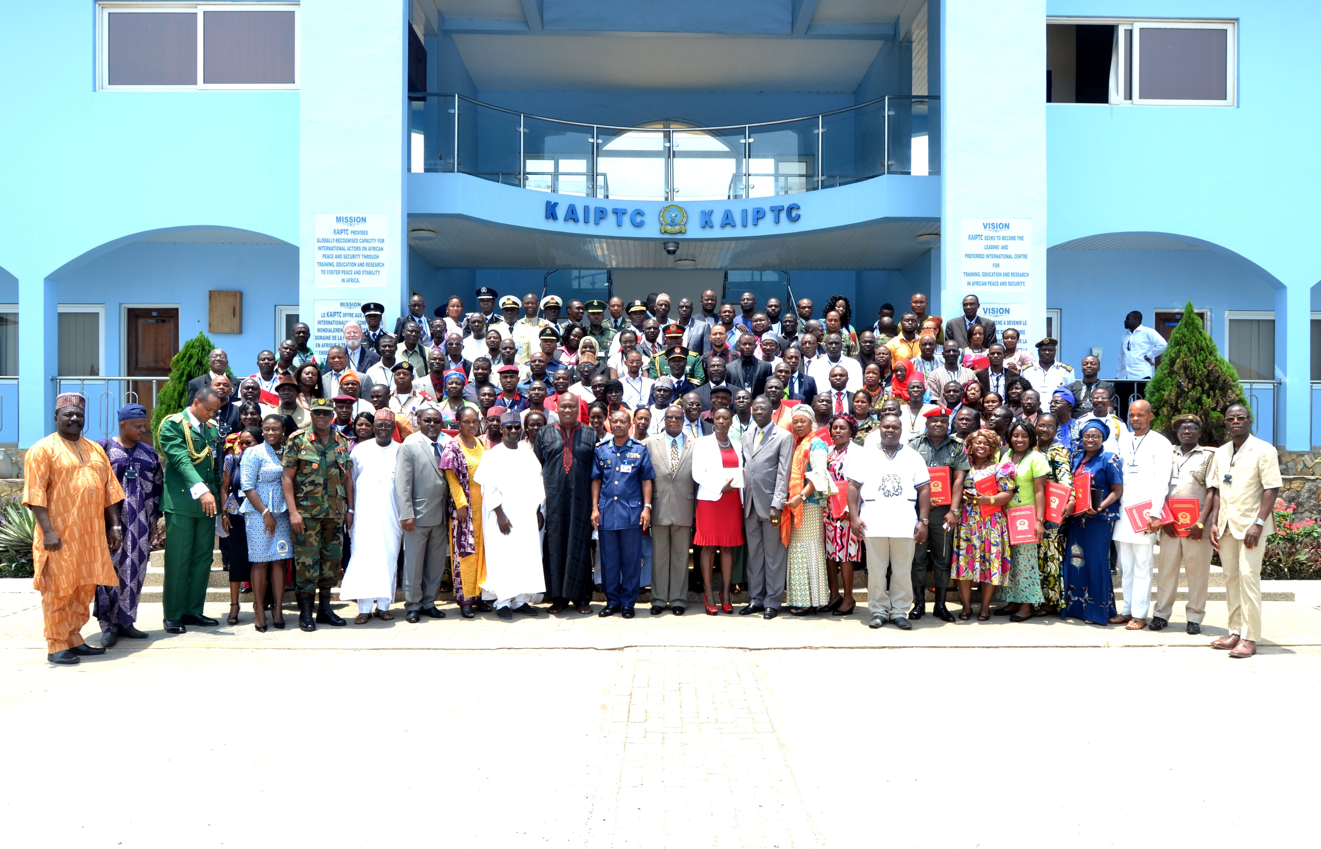 Graduates of the 7th West Africa Disaster Preparedness Initiative (WADPI) course pose with faculty and senior government officials from Liberia, Nigeria and Ghana at the Kofi Annan International Peacekeeping Training Centre (KAIPTC) in Accra, Ghana, Sept. 18, 2015.  Funded by U.S. AFRICOM and executed by KAIPTC, the National Disaster  Management Organization (NADMO) of Ghana, and the Economic Community of West African States (ECOWAS), WADPI aims to strengthen national capacities in disaster preparedness, response and management among 17 African Partner Nations, primarily ECOWAS member states, and Mauritania, Chad and Cameroon. (Photo by the KAIPTC-WADPI Communications Team/Released)