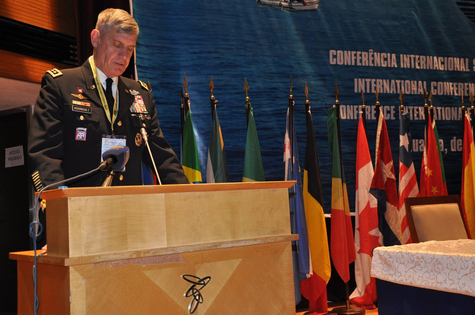 Gen. David Rodriguez speaks at the Angola Maritime and Energy Security Conference in Luanda, Angola, Oct. 9, 2015.