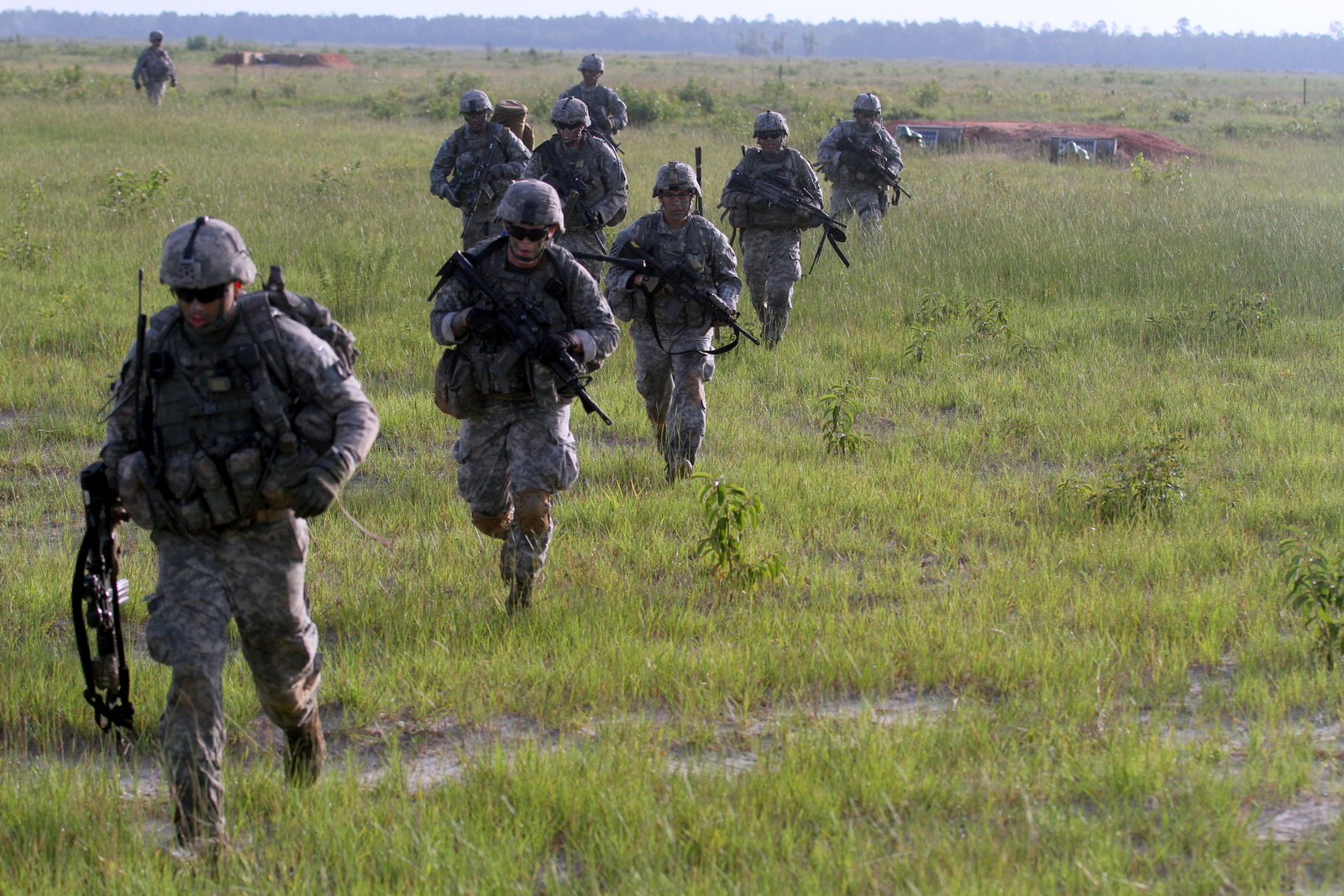 Infantrymen with 3rd Battalion, 15th Infantry Regiment, 2nd Infantry Brigade Combat Team, 3rd Infantry Division, run to an objective during a live-fire exercise on Fort Stewart, Ga., June 24, 2015. The brigade assumed the role of regionally aligned forces to U.S. Africa Command Oct. 1. (U.S. Army Photo by Sgt. Joshua Laidacker, 2nd IBCT, 3rd ID Public Affairs)