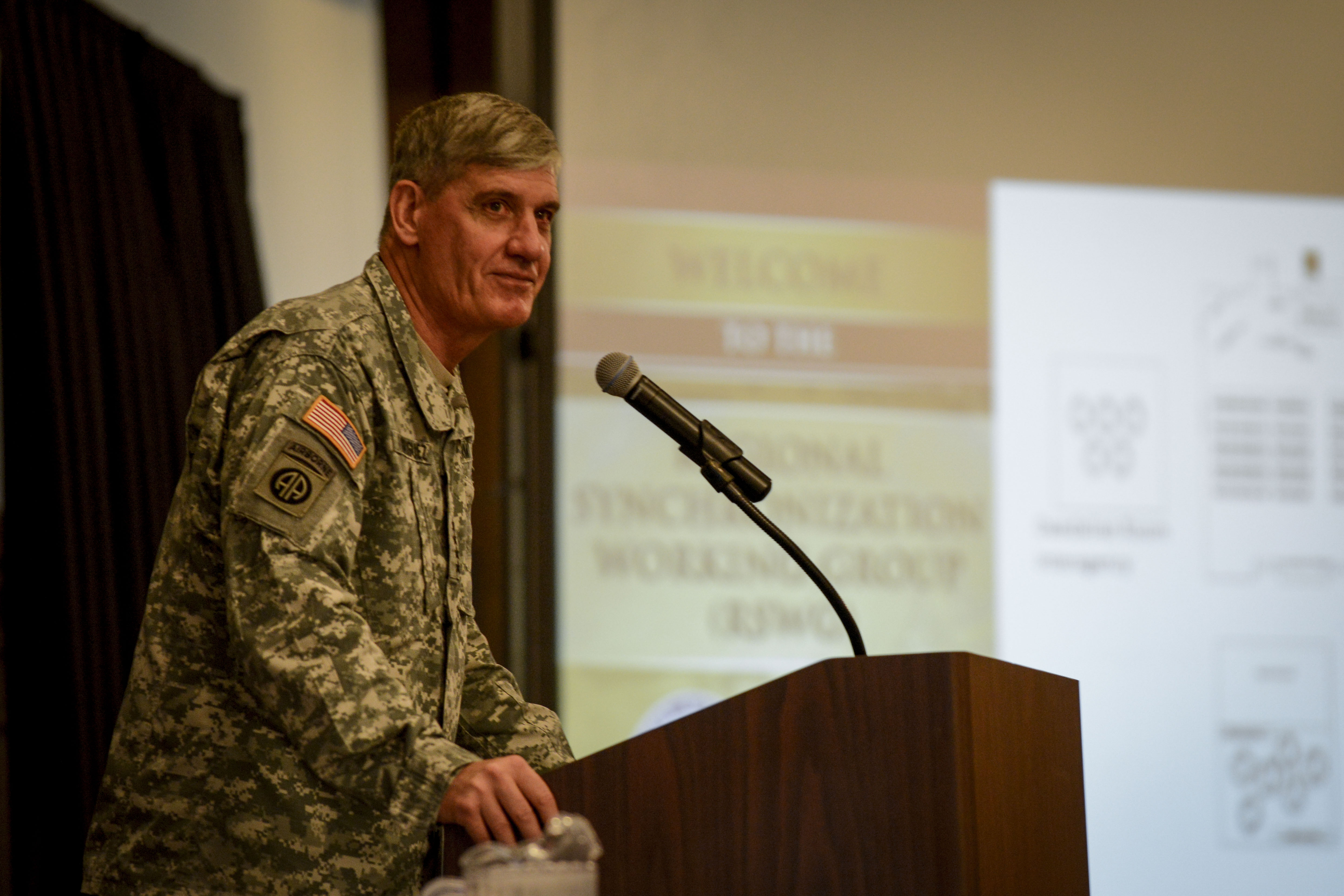 U.S. Army Gen. David M. Rodriguez, U.S. Africa Command commander, gives opening comments at the annual Regional Synchronization Working Group conference Oct. 26, 2015, at Ramstein Air Base, Germany. More than 200 U.S. service members from AFRICOM and NATO partners attended the conference to align their focus and meet the intent of the theater campaign plan. (U.S. Air Force photo/Senior Airman Nicole Sikorski/Released)