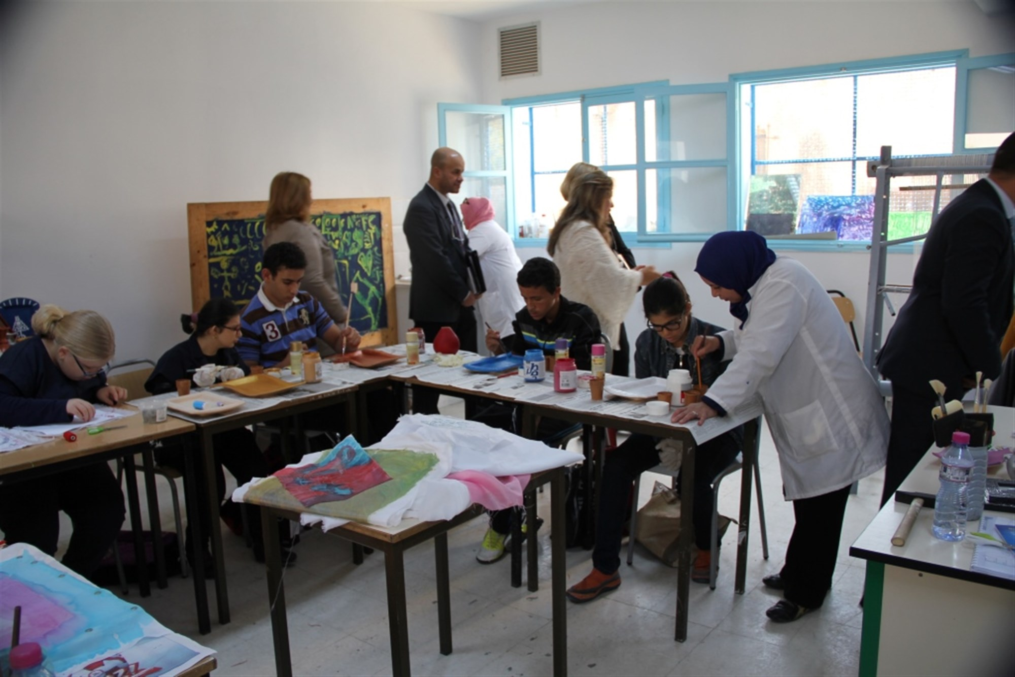 Students develop artistic abilities at the special education vocational training center in Ariana, Tunisia Nov. 3. A $675,000 extension to the center was funded by the AFRICOM Humanitarian Assistance Program.