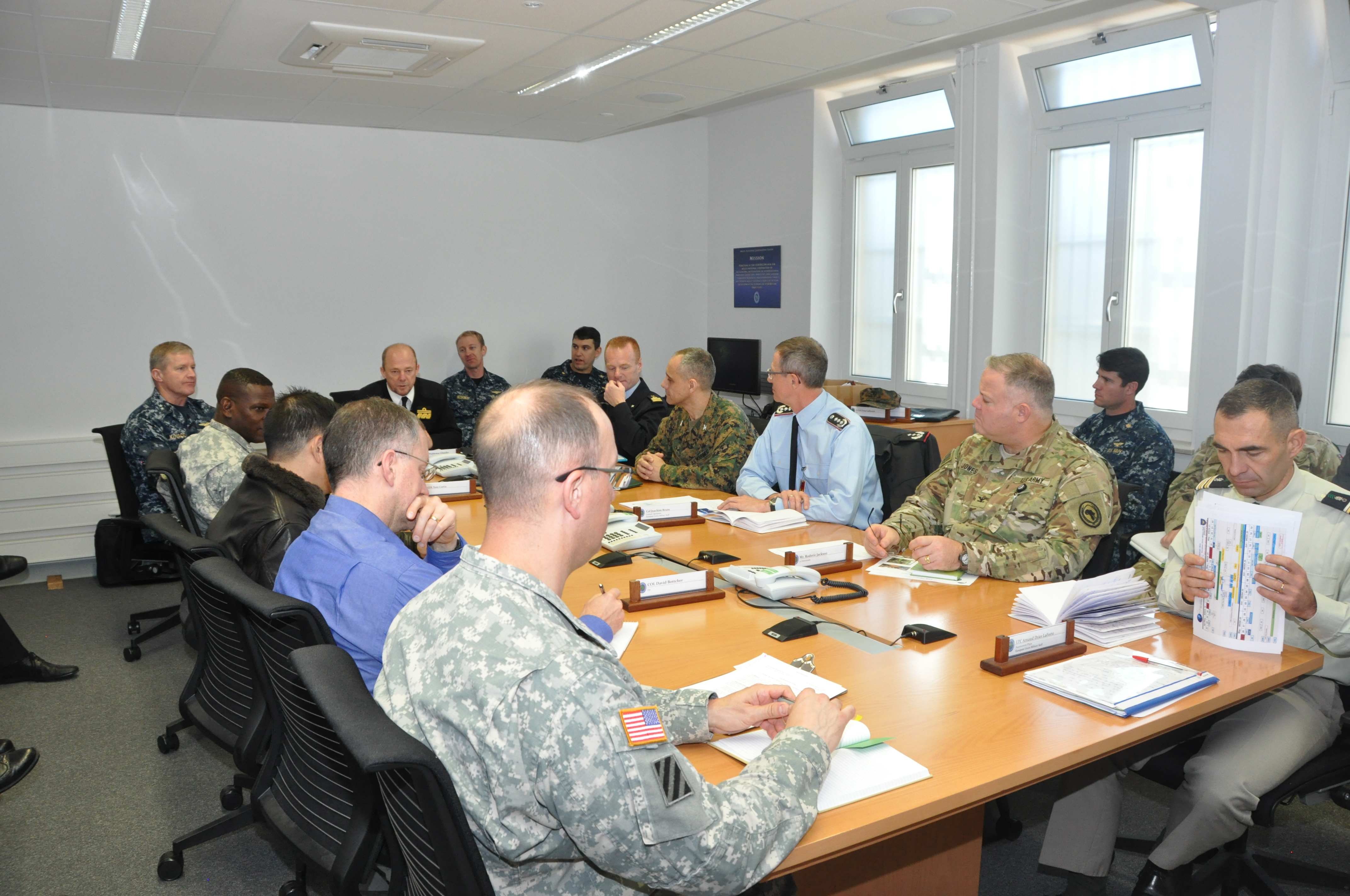 The EU's deputy director general of military staff Rear Adm. Waldemar Gluszko, addresses AFRICOM and EUMS staff during a roundtable discussion.