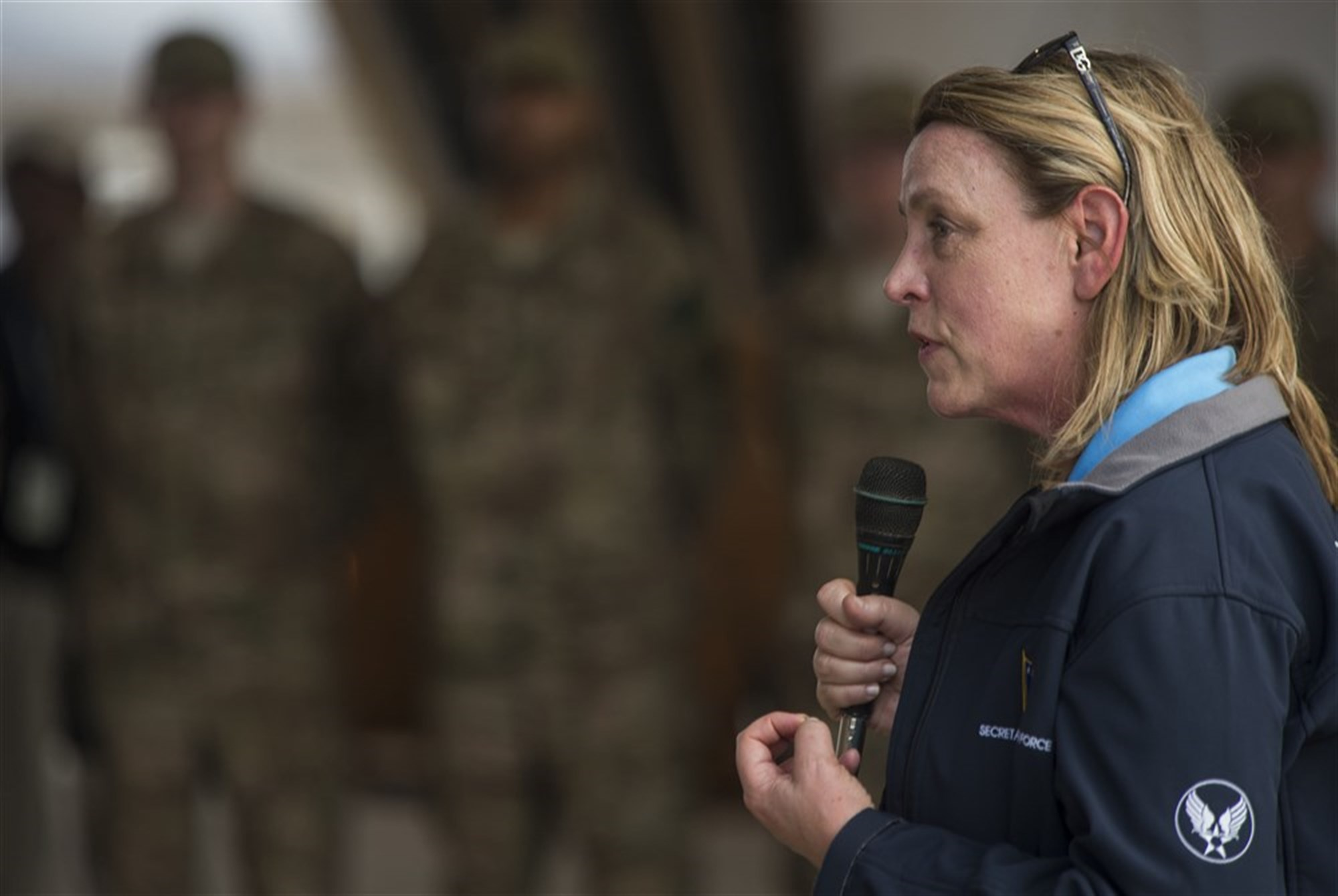 Secretary of the Air Force Deborah Lee James speaks to a group of Airmen at Chebelley Airfield, Djibouti, Nov.12, 2015. During her visit, James spoke at an all-call where she answered Airmen's questions and provided updates about current issues around the Air Force.