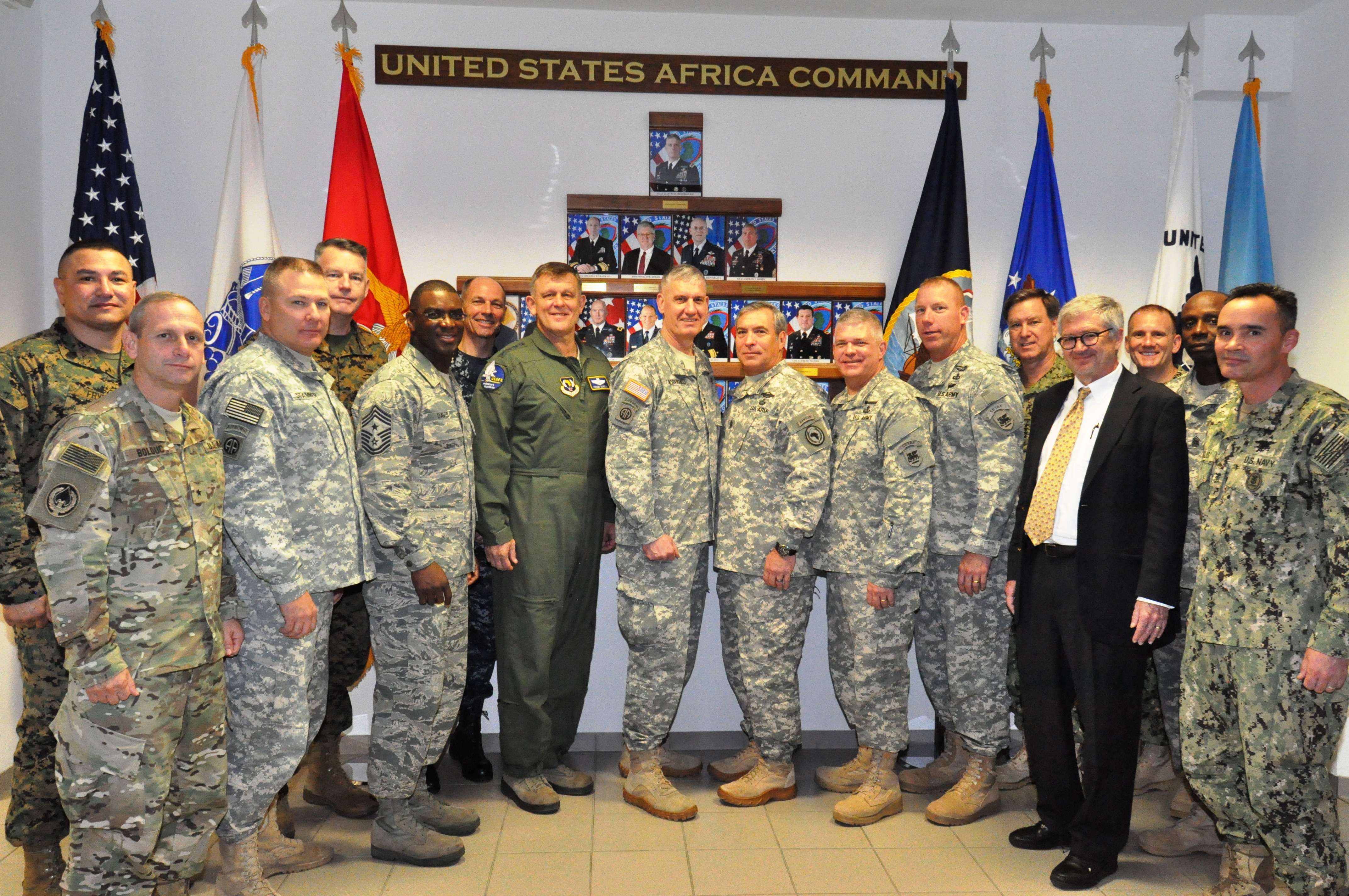 Commanders and senior enlisted leaders from U.S. Africa Command and its component commands pose for a group photo at AFRICOM headquarters in Stuttgart, Germany Nov. 17, 2015. Nearly 100 senior leaders from across the command met for the annual AFRICOM Combatant Commanders Conference.