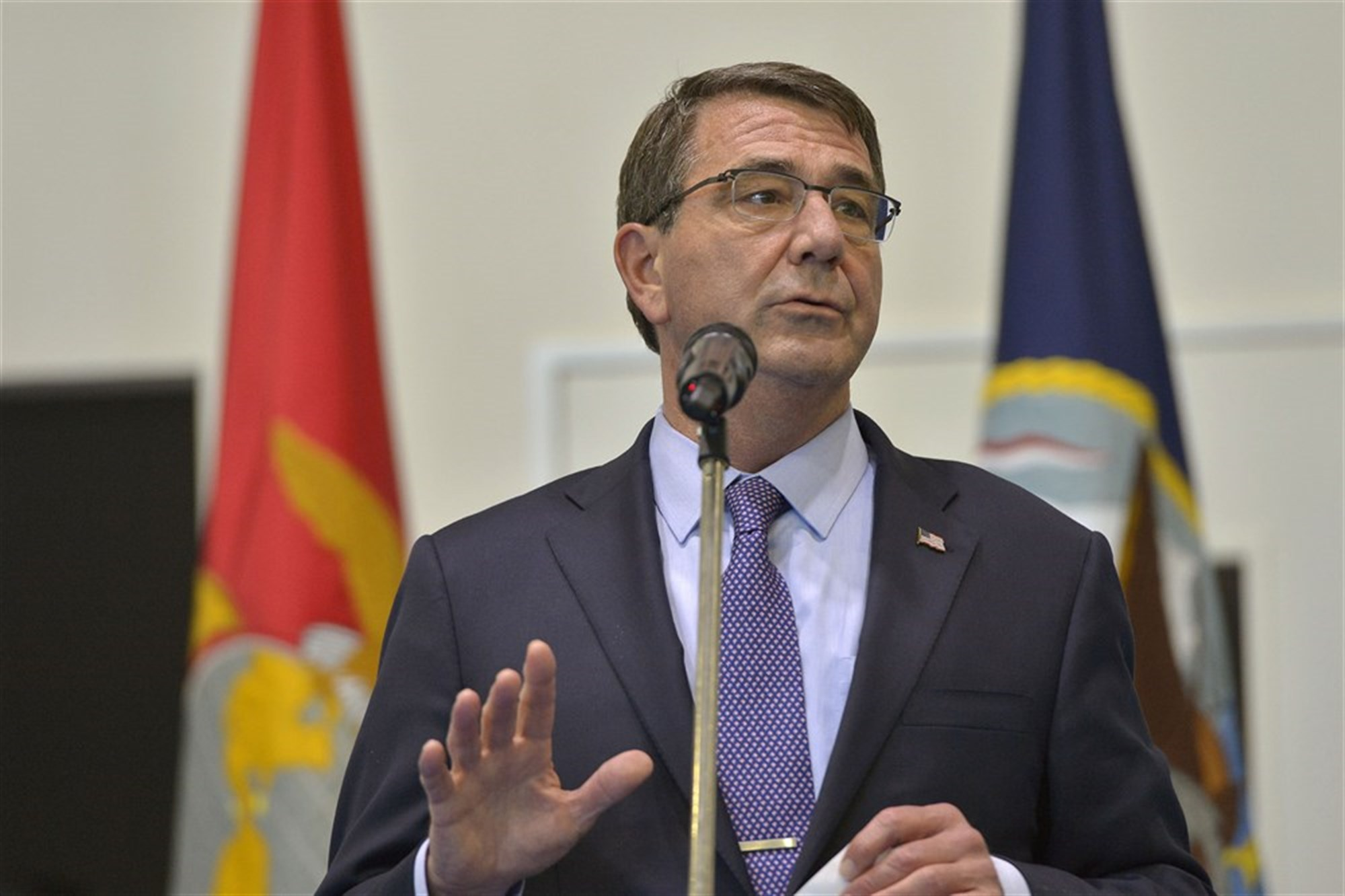 """We're in a counterterrorism pinch and that's no joke,"" U.S. Defense Secretary Ash Carter said during a visit to U.S. Africa Command in June. ""The evil of [Islamic State of Iraq and the Levant], narcotics, corruption, organized crime … are rife in Africa and ultimately they will come home to roost if we don't combat it there, and that's what you're doing so ably."" DoD photo by Glenn Fawcett"