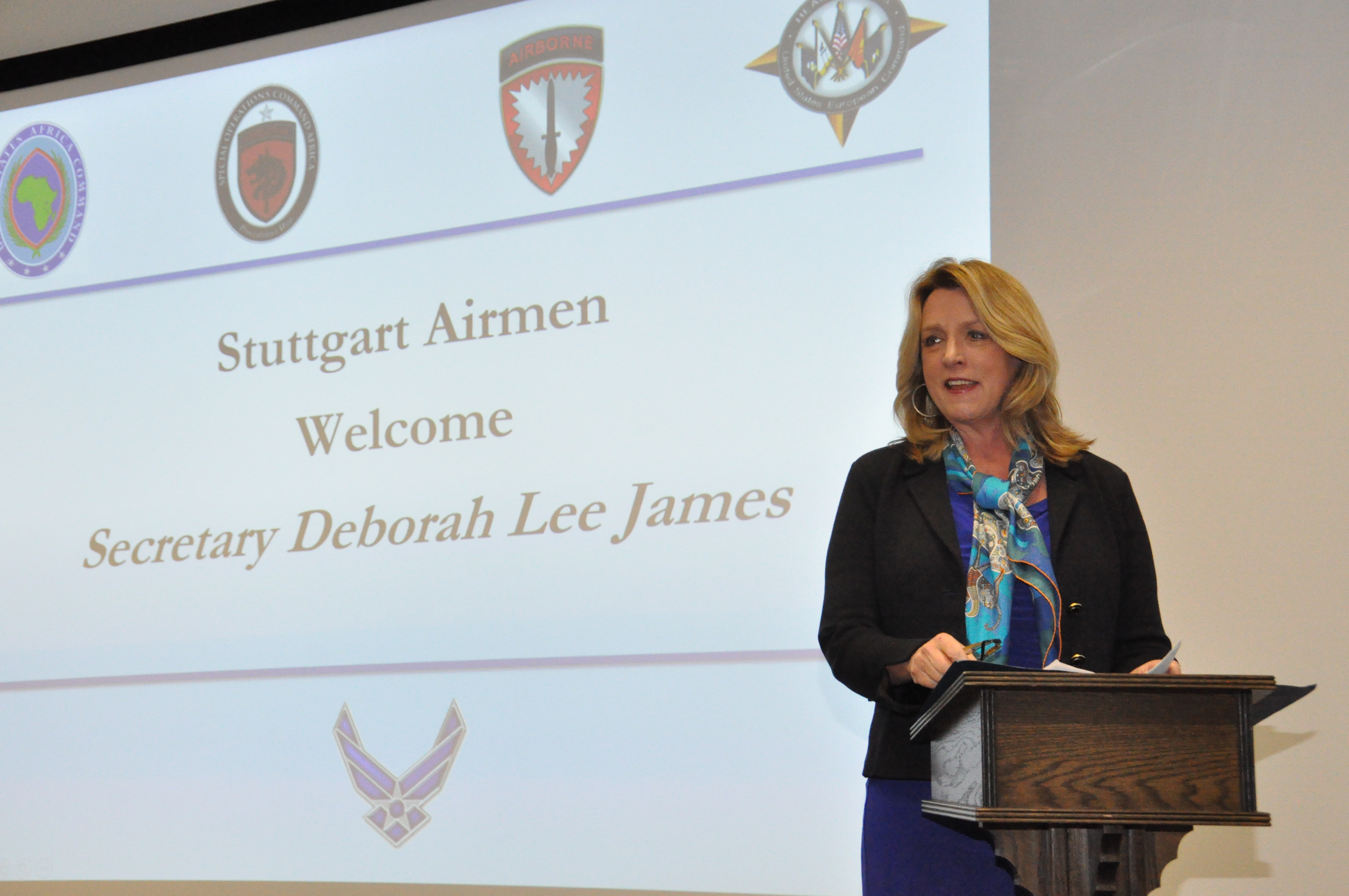 Secretary of the Air Force Deborah Lee James discusses her top priorities with Airmen stationed in Stuttgart, Germany, Nov. 18, 2015. (U.S. Africa Command photo by Brenda Law/RELEASED)