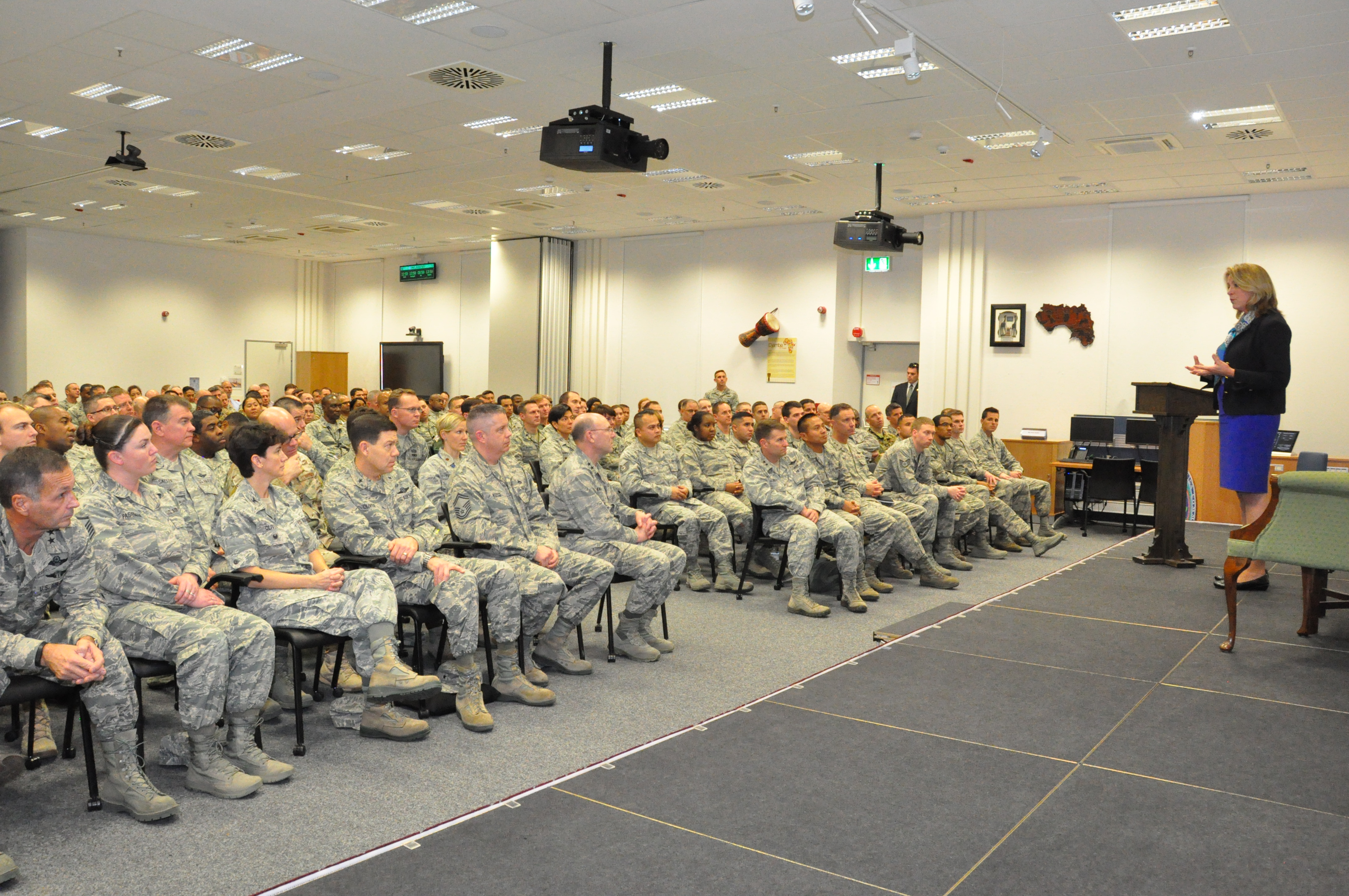 Secretary of the Air Force Deborah Lee James discusses her top priorities with more than 150 Airmen stationed in Stuttgart, Germany, during an Airmen's Call, Nov. 18, 2015. (U.S. Africa Command photo by Brenda Law/RELEASED)