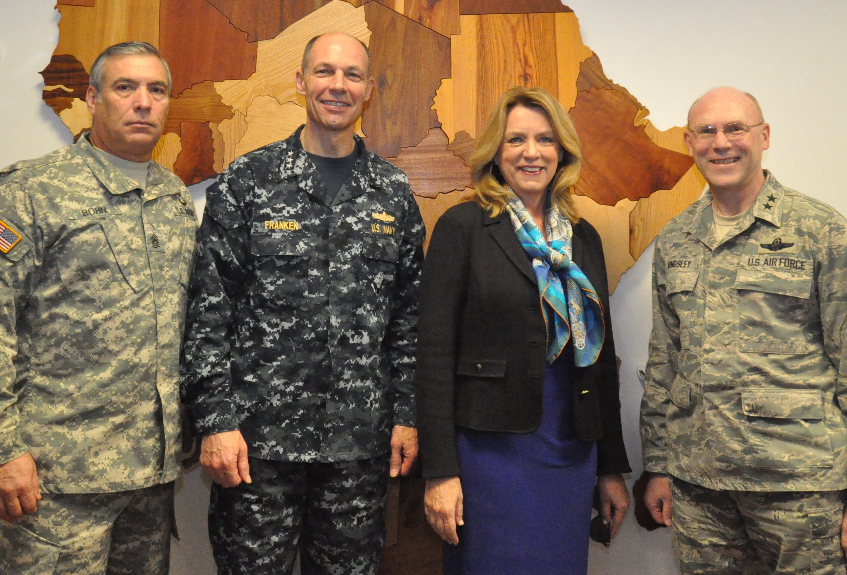 Secretary of the Air Force visits AFRICOM. Secretary of the Air Force Deborah Lee James poses with senior leaders of U.S. Africa Command at the command's headquarters, Nov. 18, 2015.  Pictured left to right: Senior Enlisted Leader, U.S. Army Command Sgt. Maj. Darrin Bohn; Deputy to the Commander for Military Operations, U.S. Navy Vice Adm. Michael Franken; Secretary James, and Chief of Staff, U.S. Air Force Maj. Gen. Michael Kingsley. (U.S. Africa Command photo by Brenda Law/RELEASED)