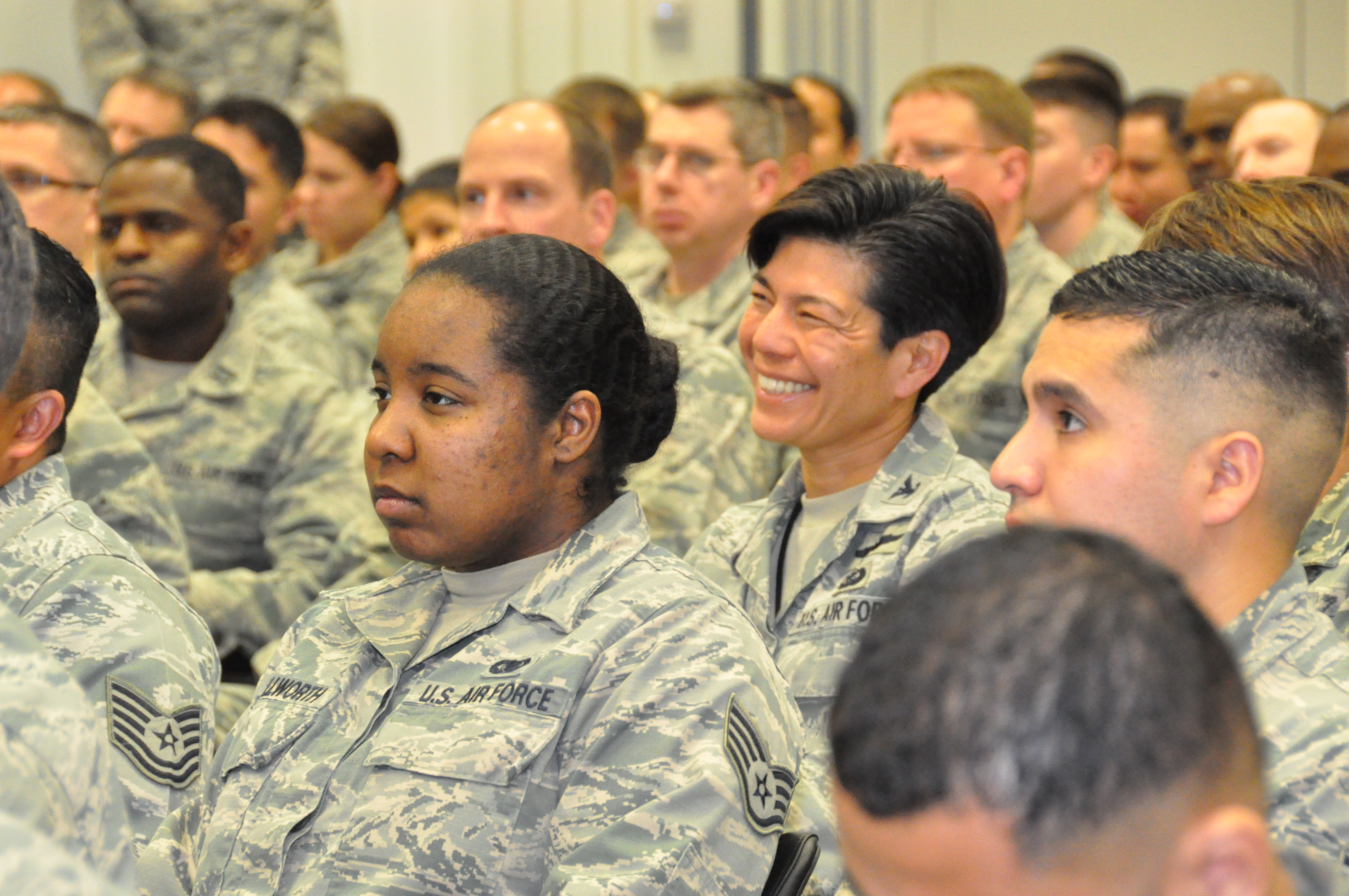 U.S. Airmen stationed in Stuttgart, Germany attend an Airmen's Call with Secretary of the Air Force Deborah Lee James. More than 150 Airmen were able to hear about the Secretary's top priorities for the Air Force, and to engage in a question-and-answer session on Nov. 18, 2015. (U.S. Africa Command photo by Brenda Law/RELEASED)