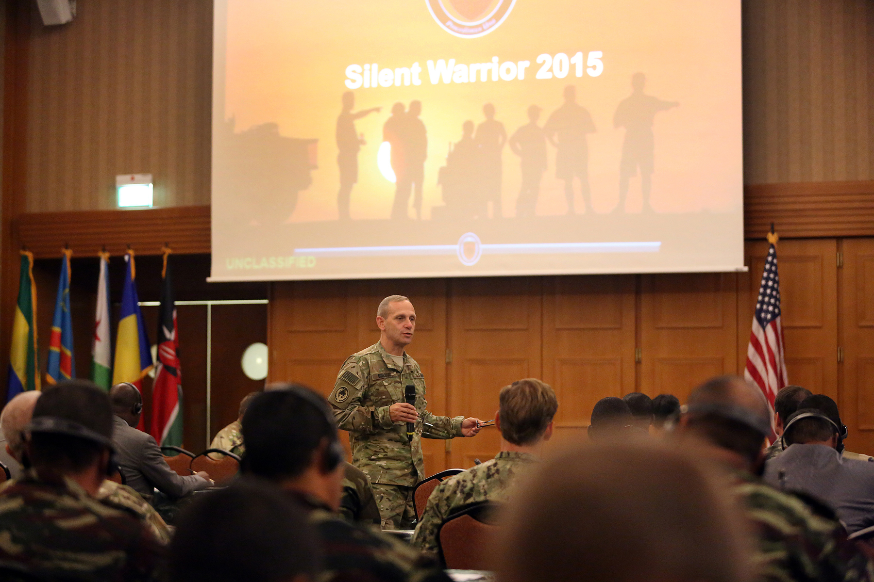 U.S. Army Brig. Gen. Donald Bolduc, Special Operations Command – Africa Commander, addresses U.S. and African participants at exercise Silent Warrior 16, held from Nov. 9-13, in Garmisch, Germany. Silent Warrior 16 brought together Special Operations Forces and representatives from 19 African states to discuss cooperative strategies to combat violent extremist organizations in the region. (Special Operations Command Africa photo by Sgt. 1st Class Anthony L. Taylor/Released)